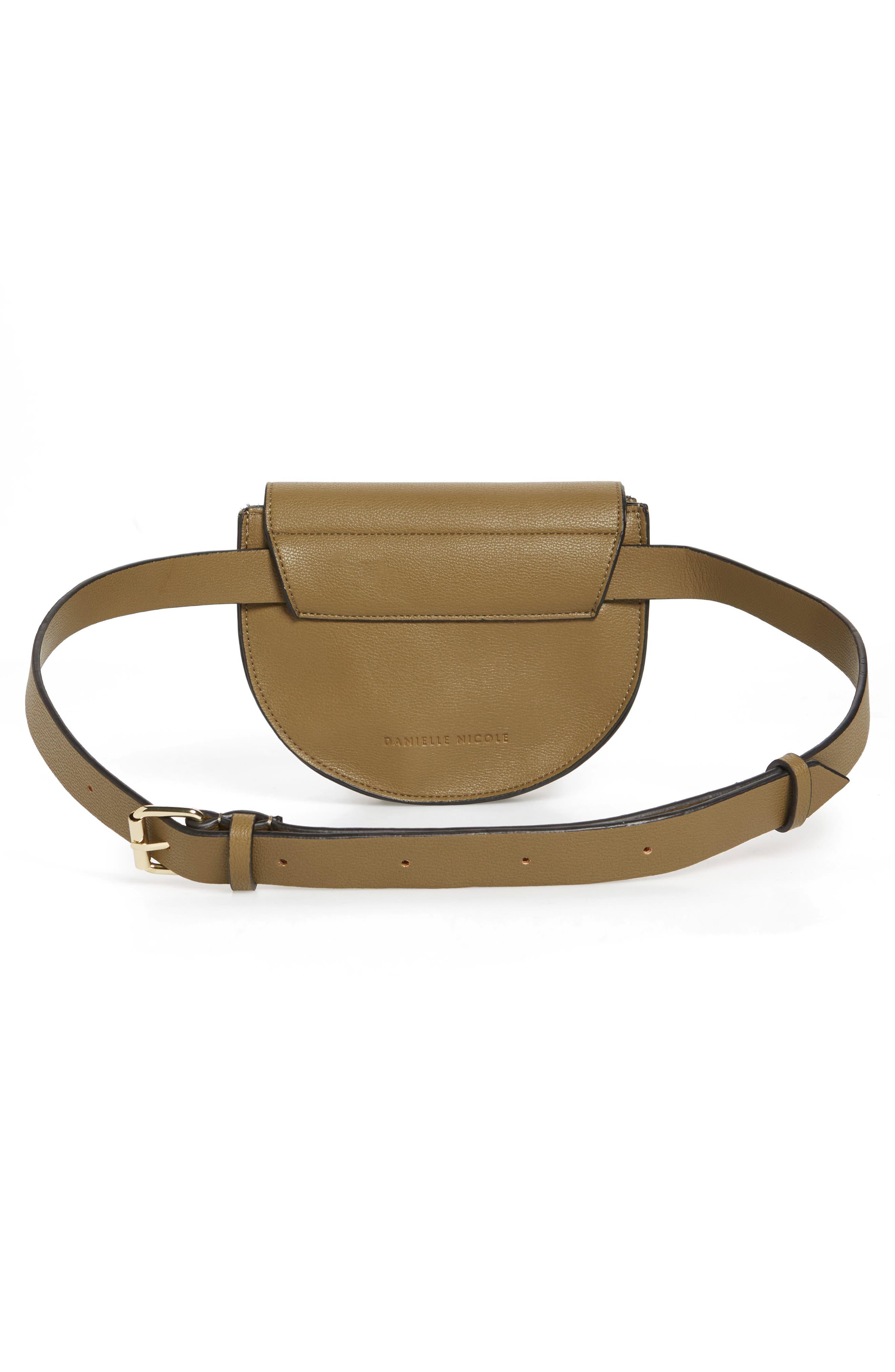 Alissa Faux Leather Belt Bag,                             Alternate thumbnail 4, color,                             OLIVE