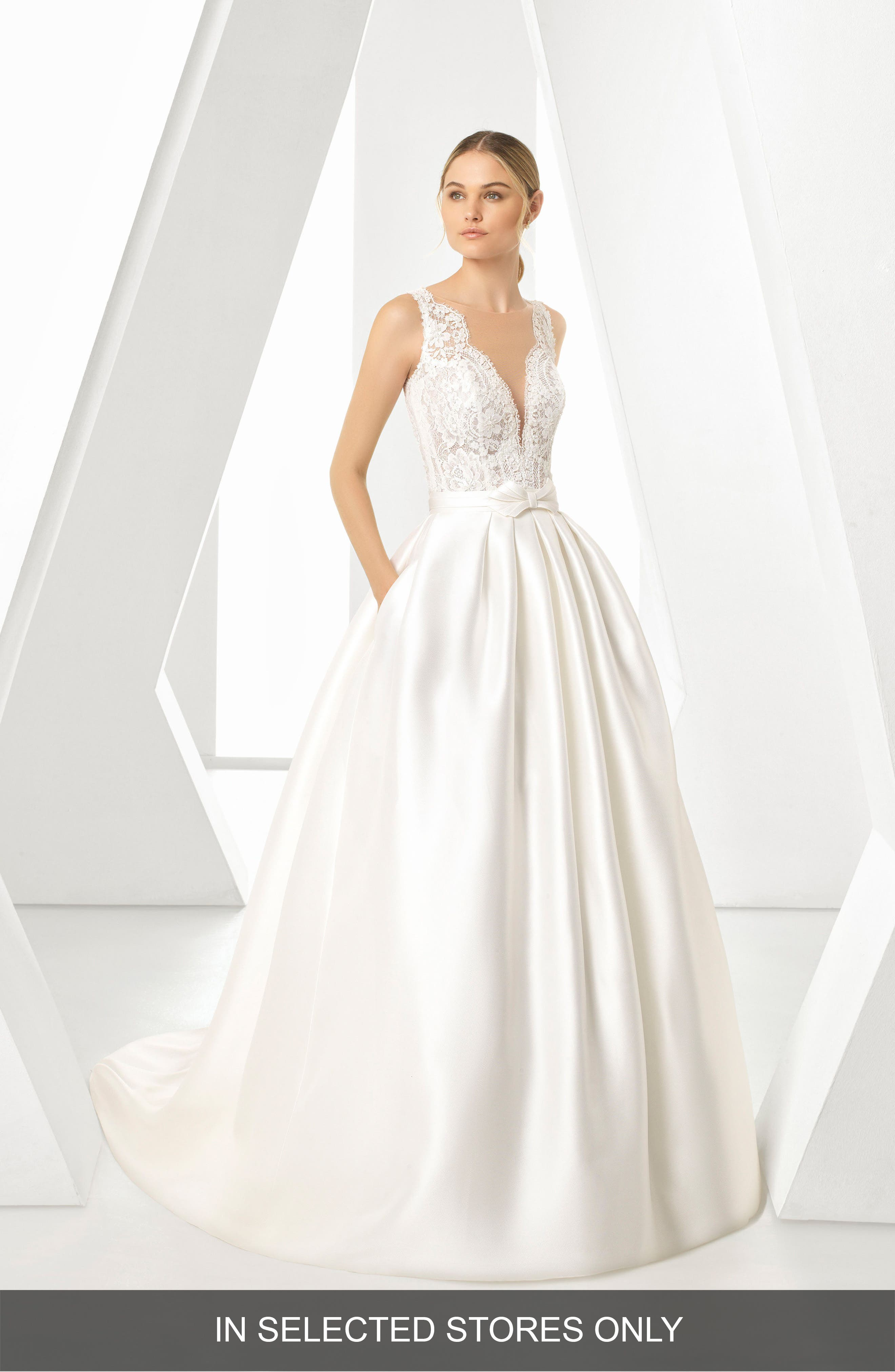 Rosa Clará Dorano V-Neck Gown with Ballgown Overskirt,                             Main thumbnail 1, color,                             NATURAL
