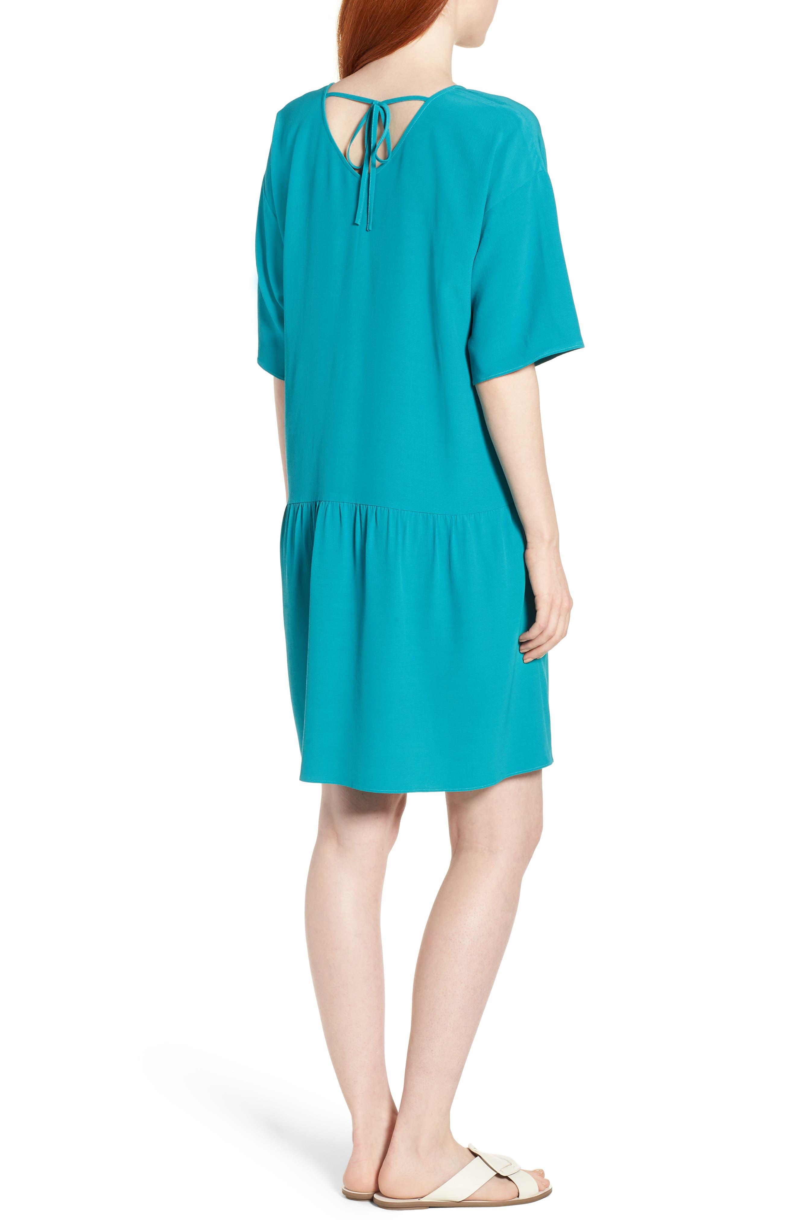 Drop Waist Tencel<sup>®</sup> Lyocell Blend Dress,                             Alternate thumbnail 8, color,