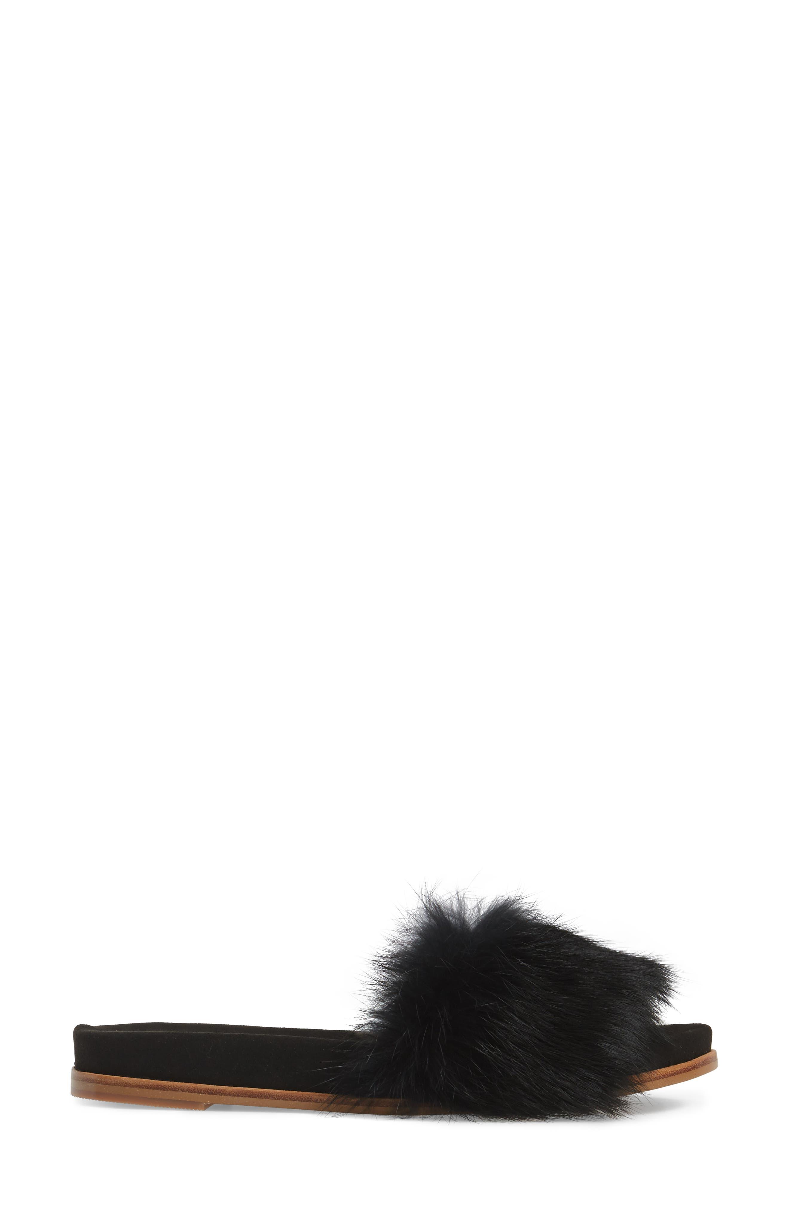 Lisa Genuine Rabbit Fur Slide Sandal,                             Alternate thumbnail 3, color,                             007