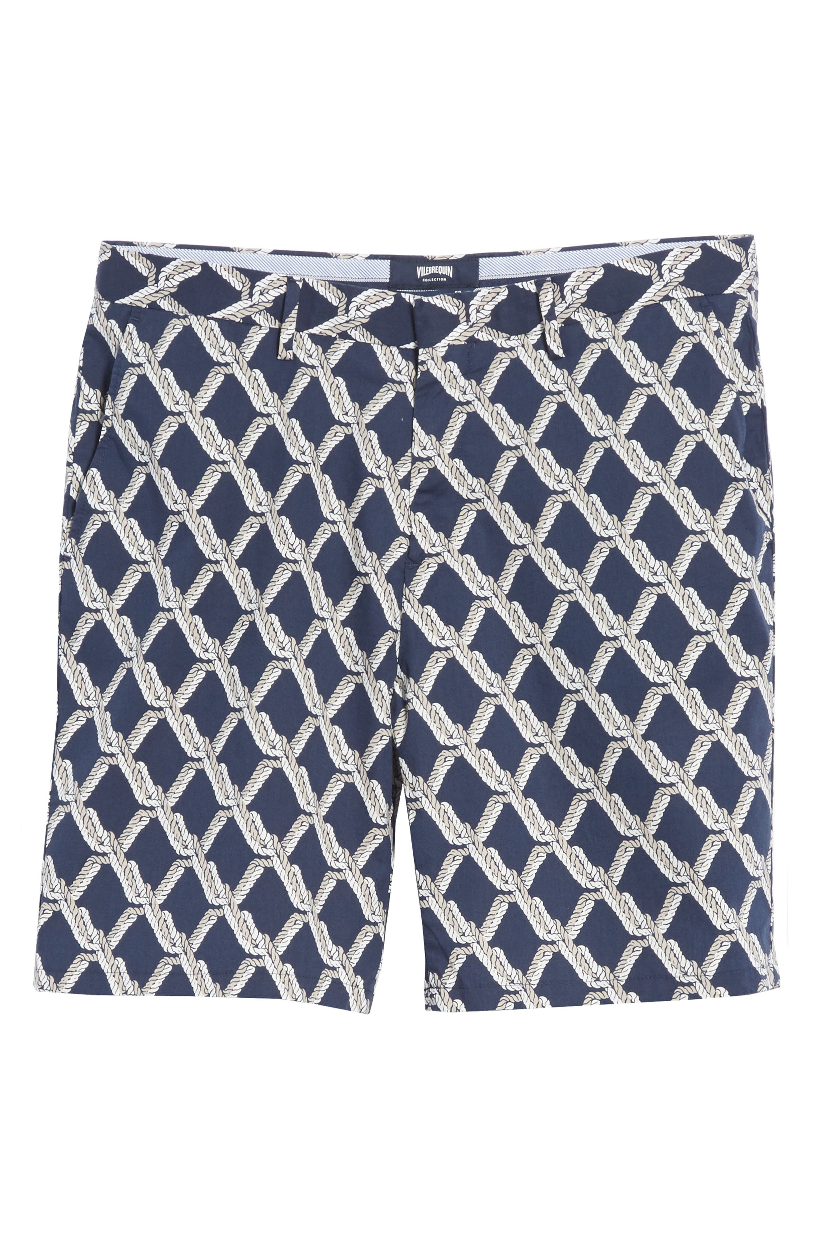 Rope Print Poplin Chino Shorts,                             Alternate thumbnail 6, color,                             SQUID INK / CANVAS