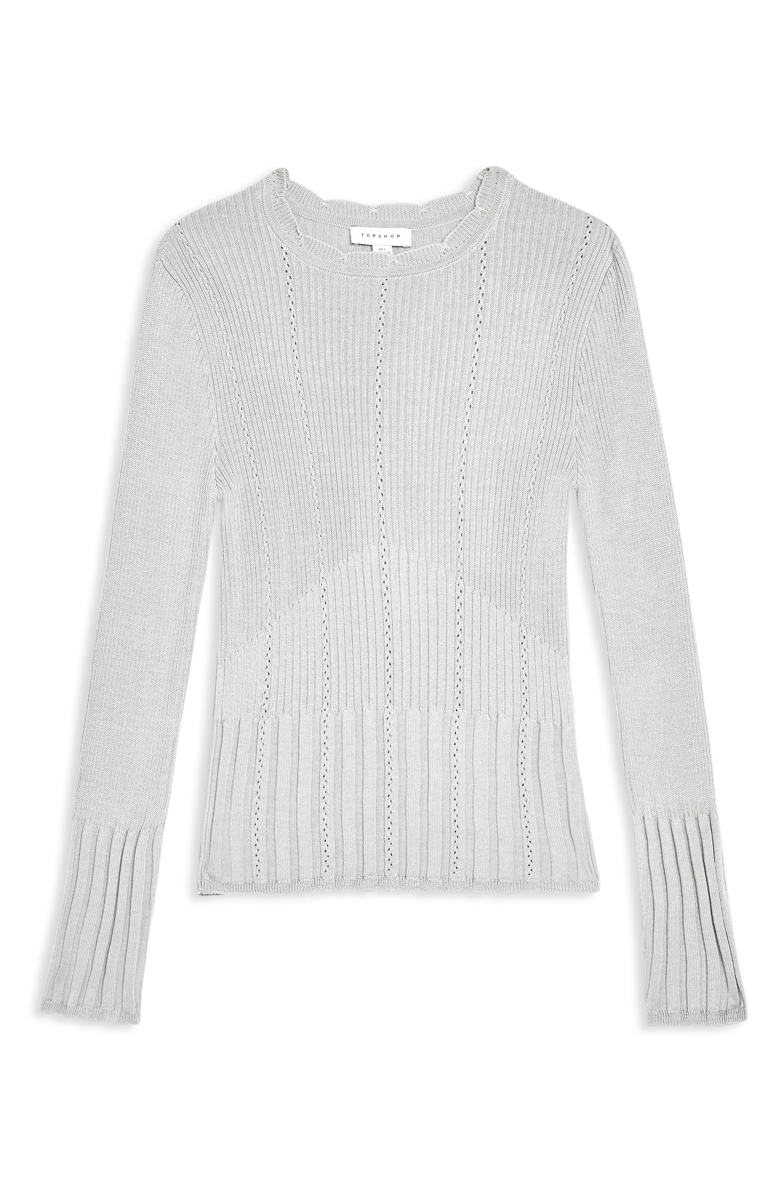 Pointelle Ribbed Top,                             Alternate thumbnail 3, color,                             GREY