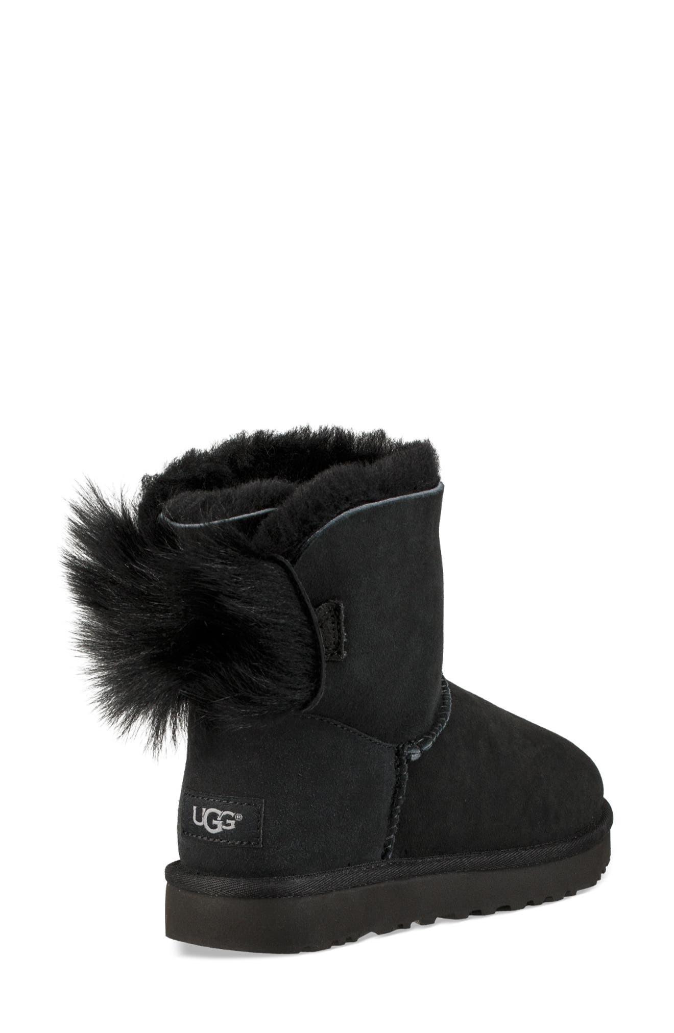 Mini Fluff Bow Genuine Shearling Boot,                             Alternate thumbnail 2, color,                             BLACK SUEDE
