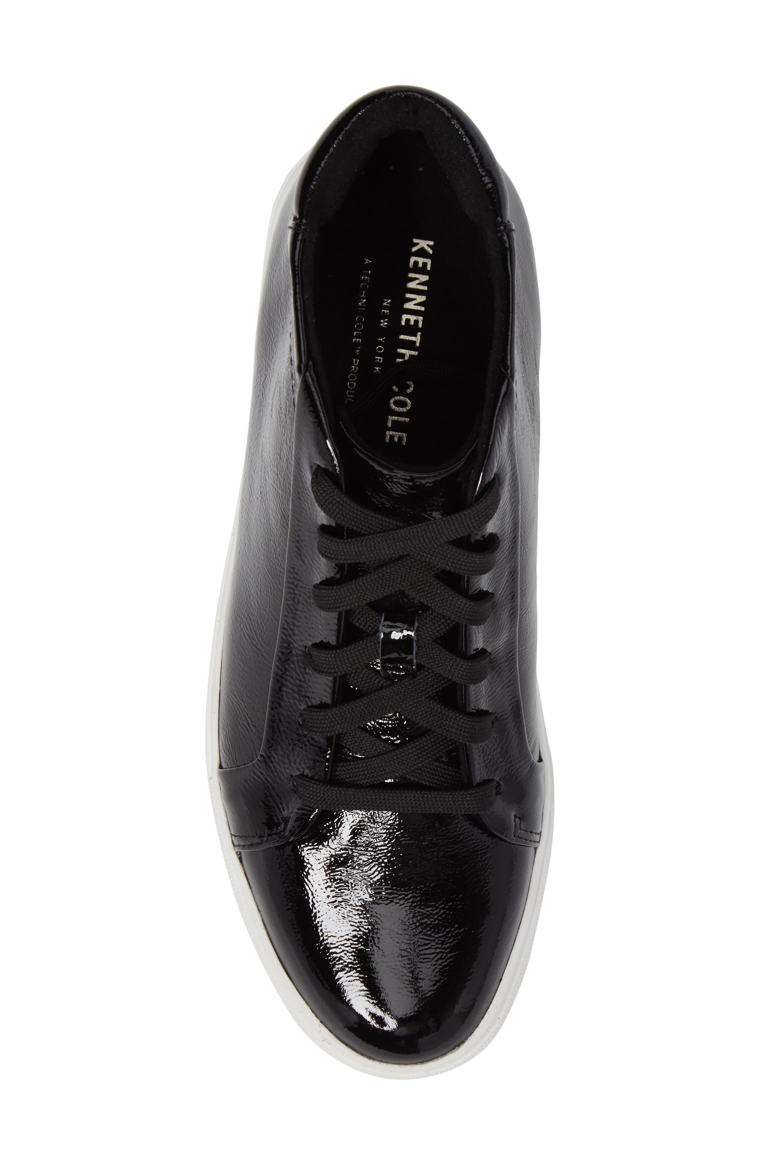 Janette High Top Platform Sneaker,                             Alternate thumbnail 5, color,                             BLACK PATENT LEATHER