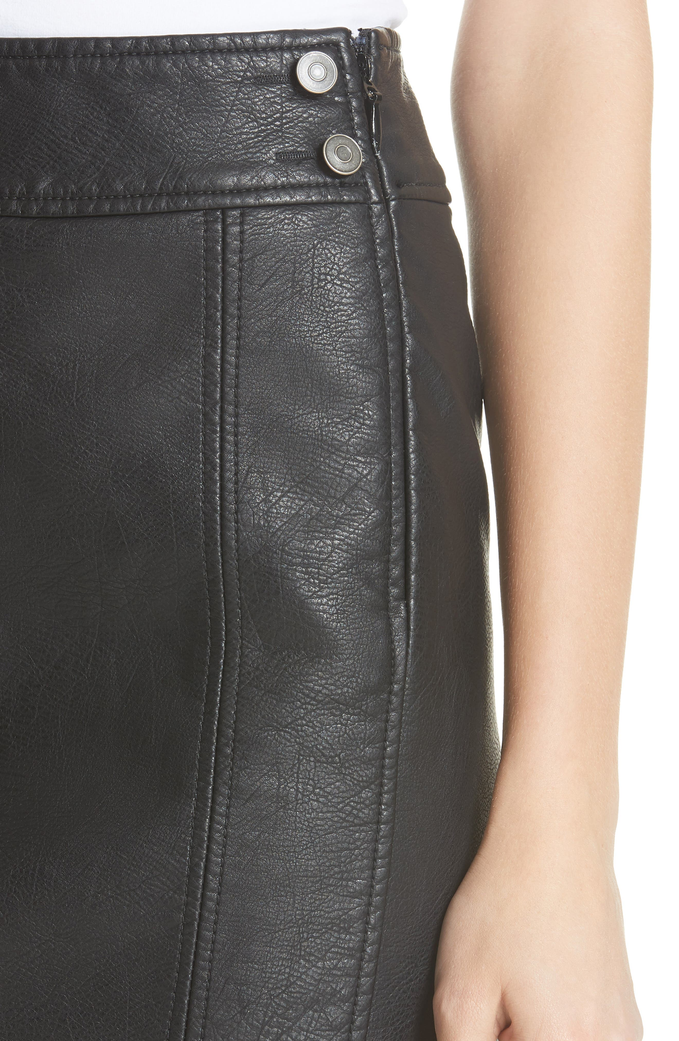 Retro Faux Leather Body-Con Miniskirt,                             Alternate thumbnail 4, color,                             001