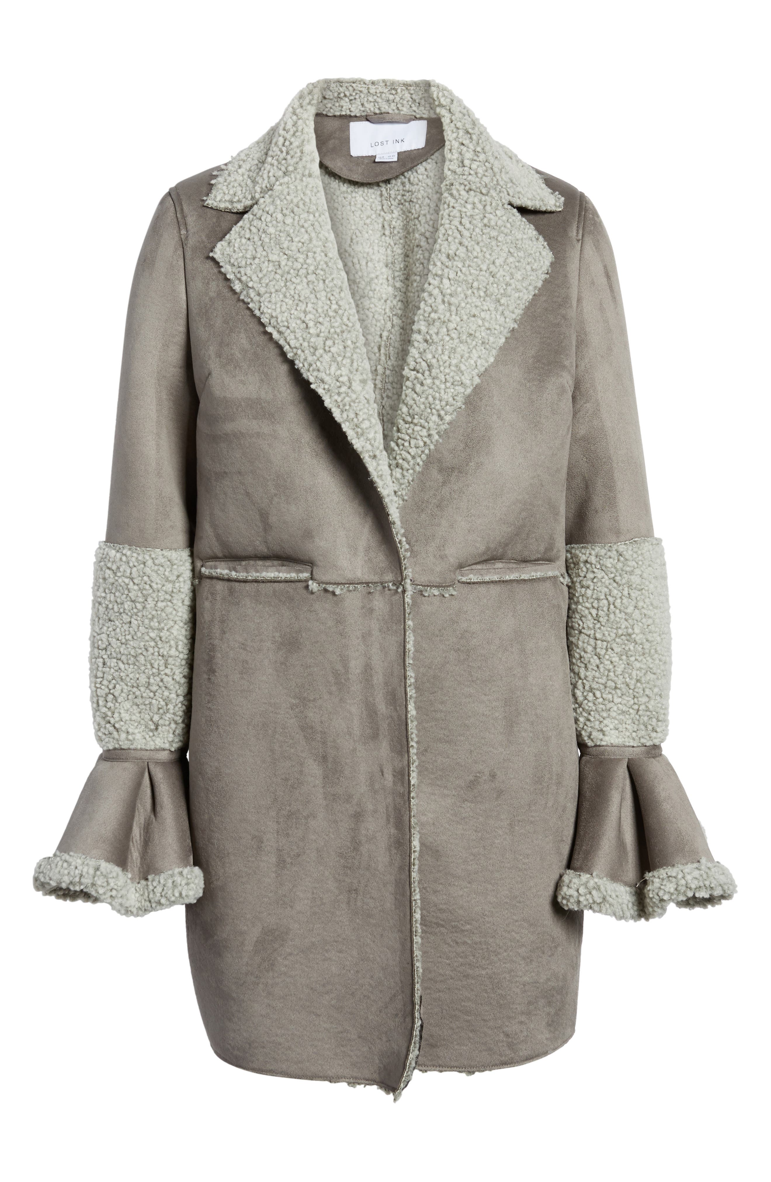 LOST INK,                             Faux Shearling Coat,                             Alternate thumbnail 5, color,                             020