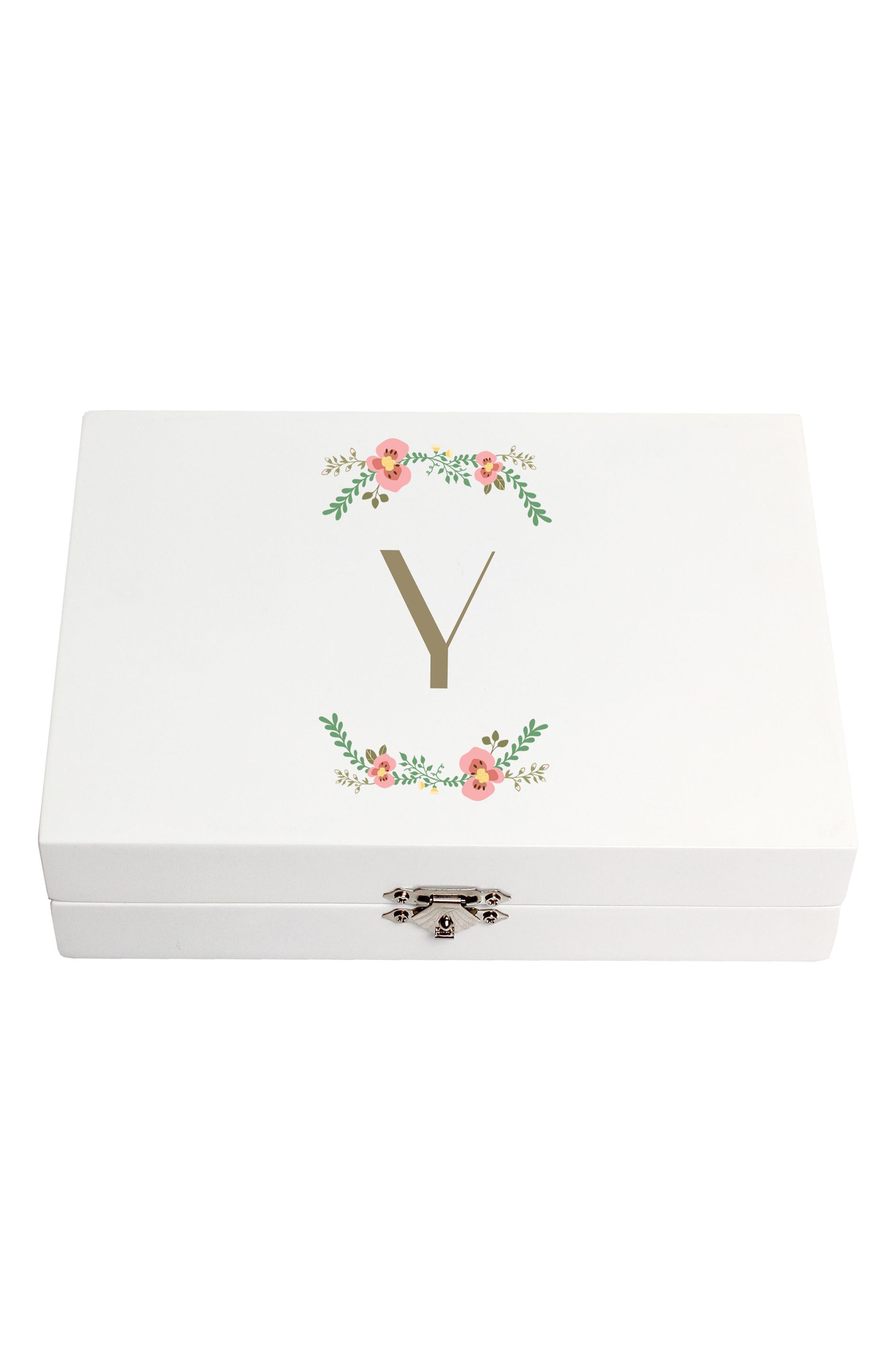 Monogram Floral Wedding Ring Box,                             Main thumbnail 25, color,