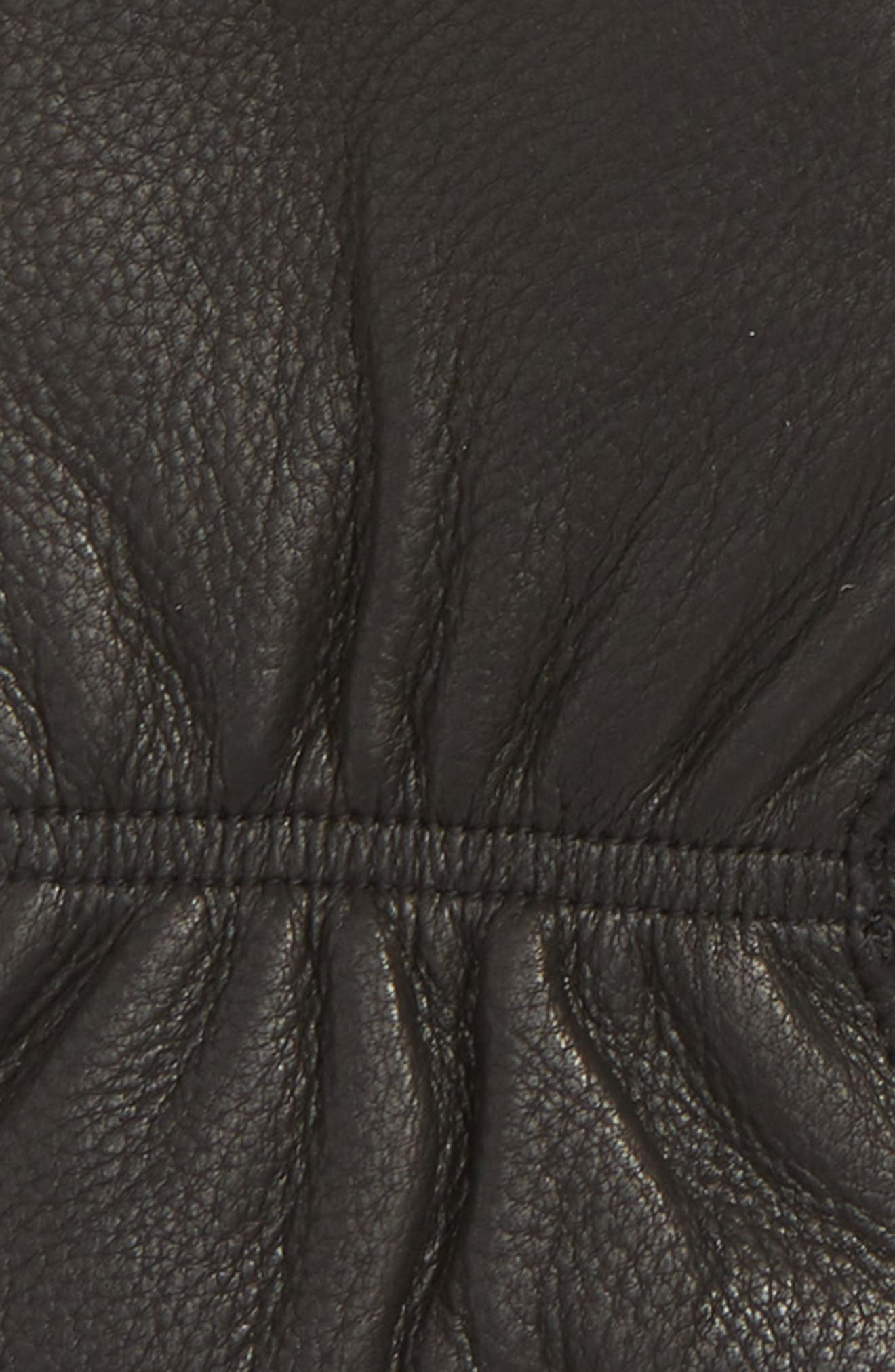 Finger Lined Deerskin Mittens,                             Alternate thumbnail 2, color,                             BLACK