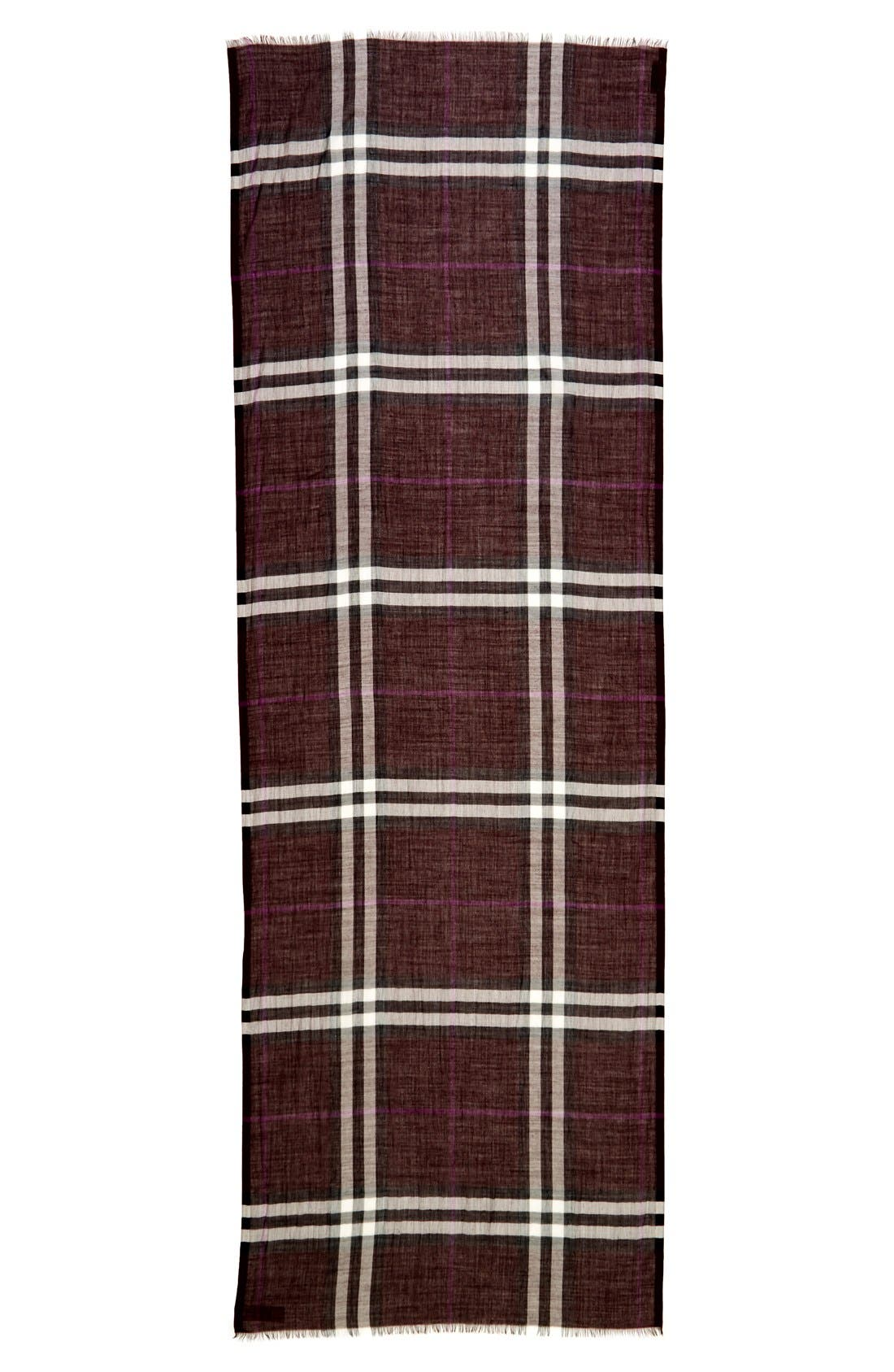 Giant Check Print Wool & Silk Scarf,                             Alternate thumbnail 106, color,