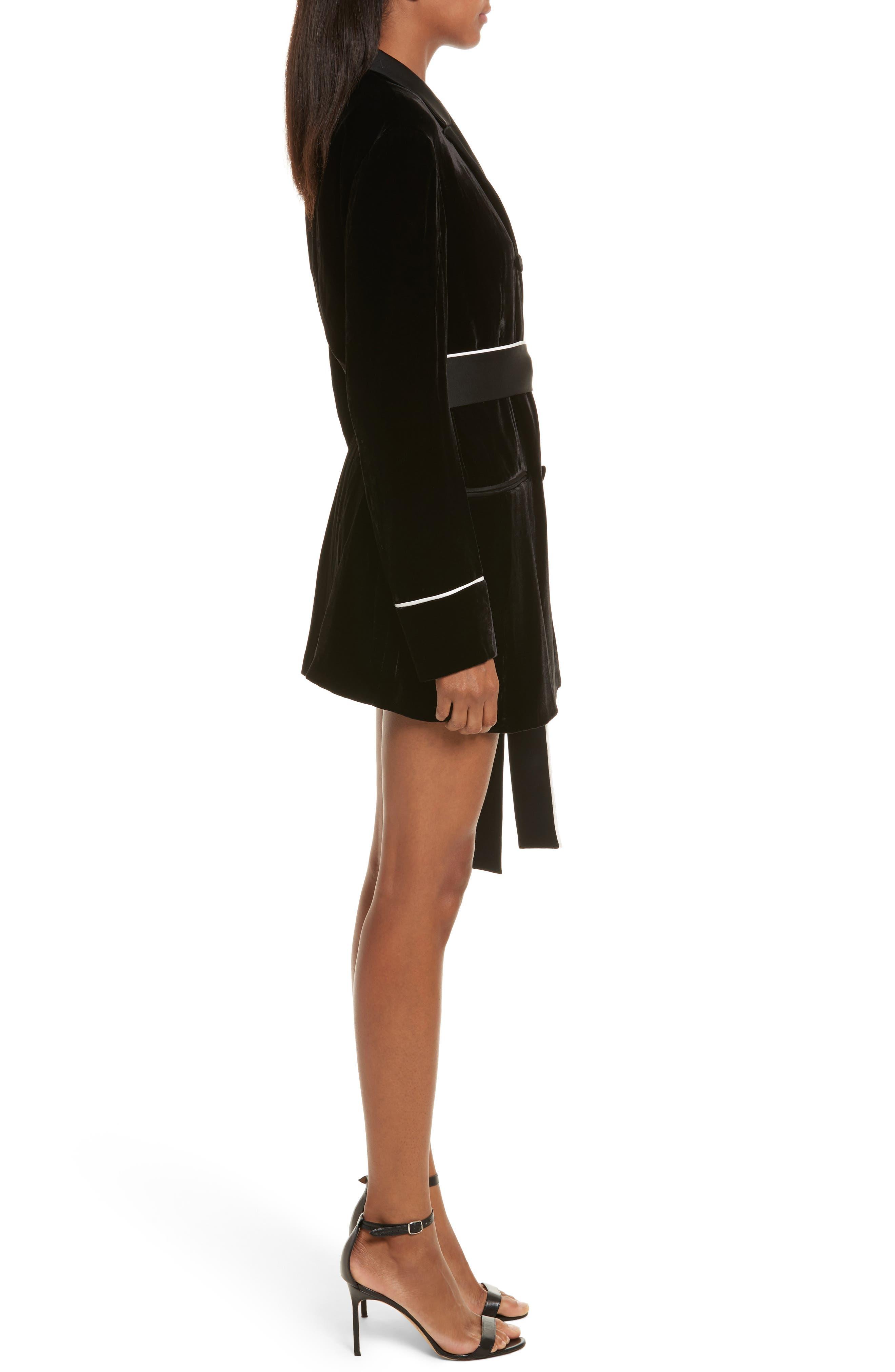 Diane Kruger x GREY Jason Wu Velvet Shirtdress,                             Alternate thumbnail 3, color,                             001