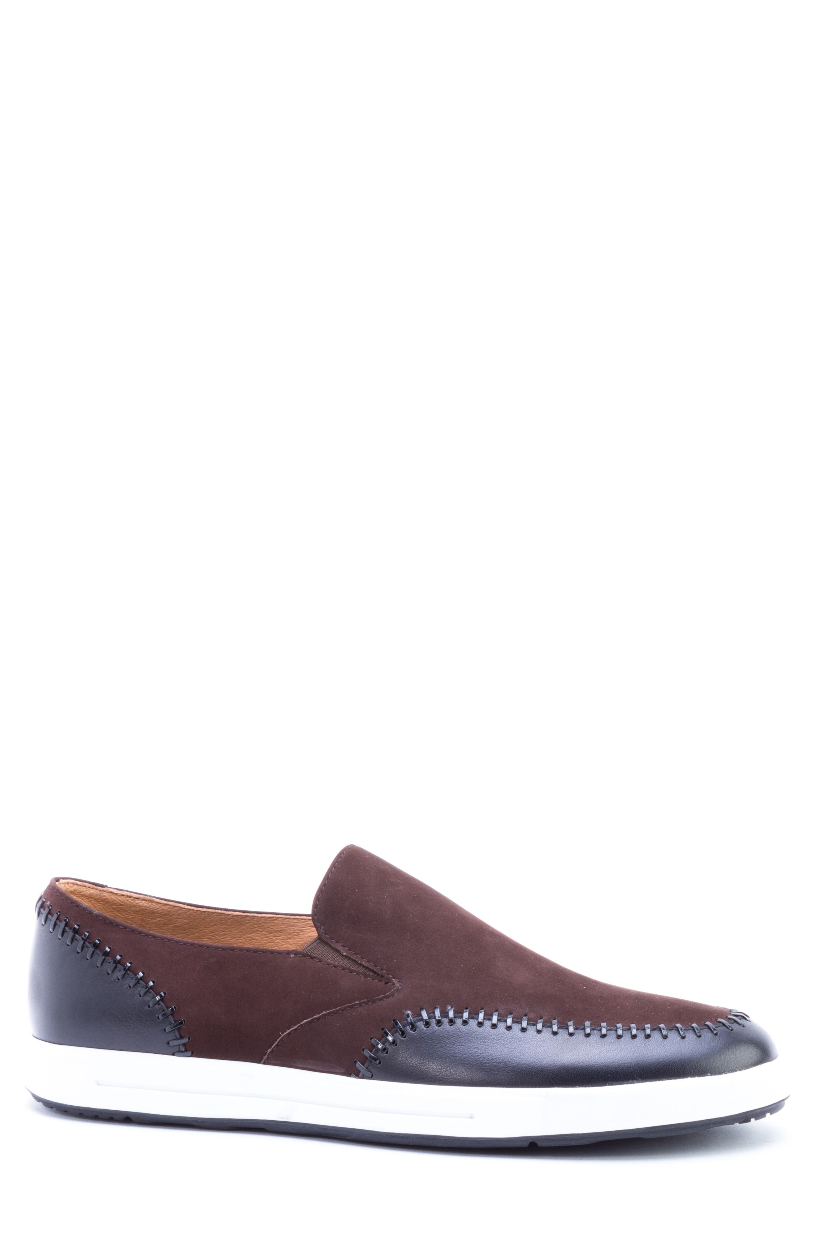 Caravaggio Whipstitched Slip-On Sneaker,                             Alternate thumbnail 3, color,                             BROWN SUEDE/ LEATHER