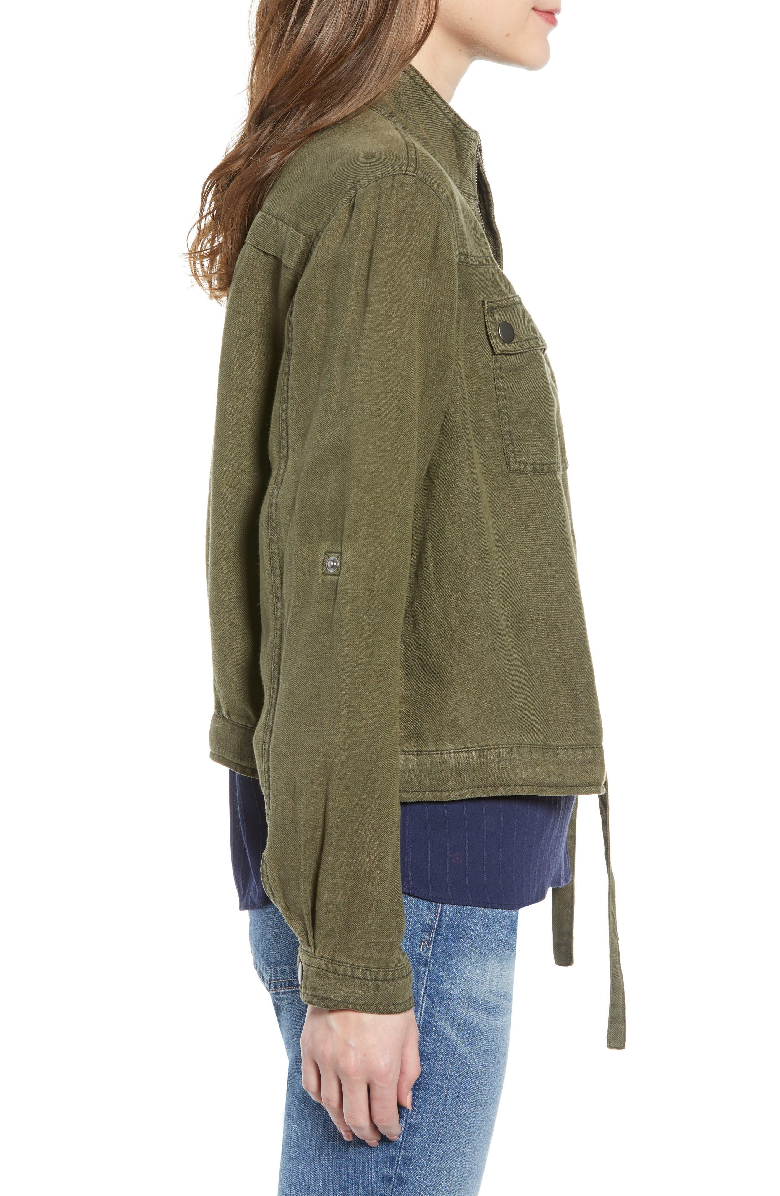 Linen Blend Field Jacket,                             Alternate thumbnail 3, color,                             OLIVE SARMA