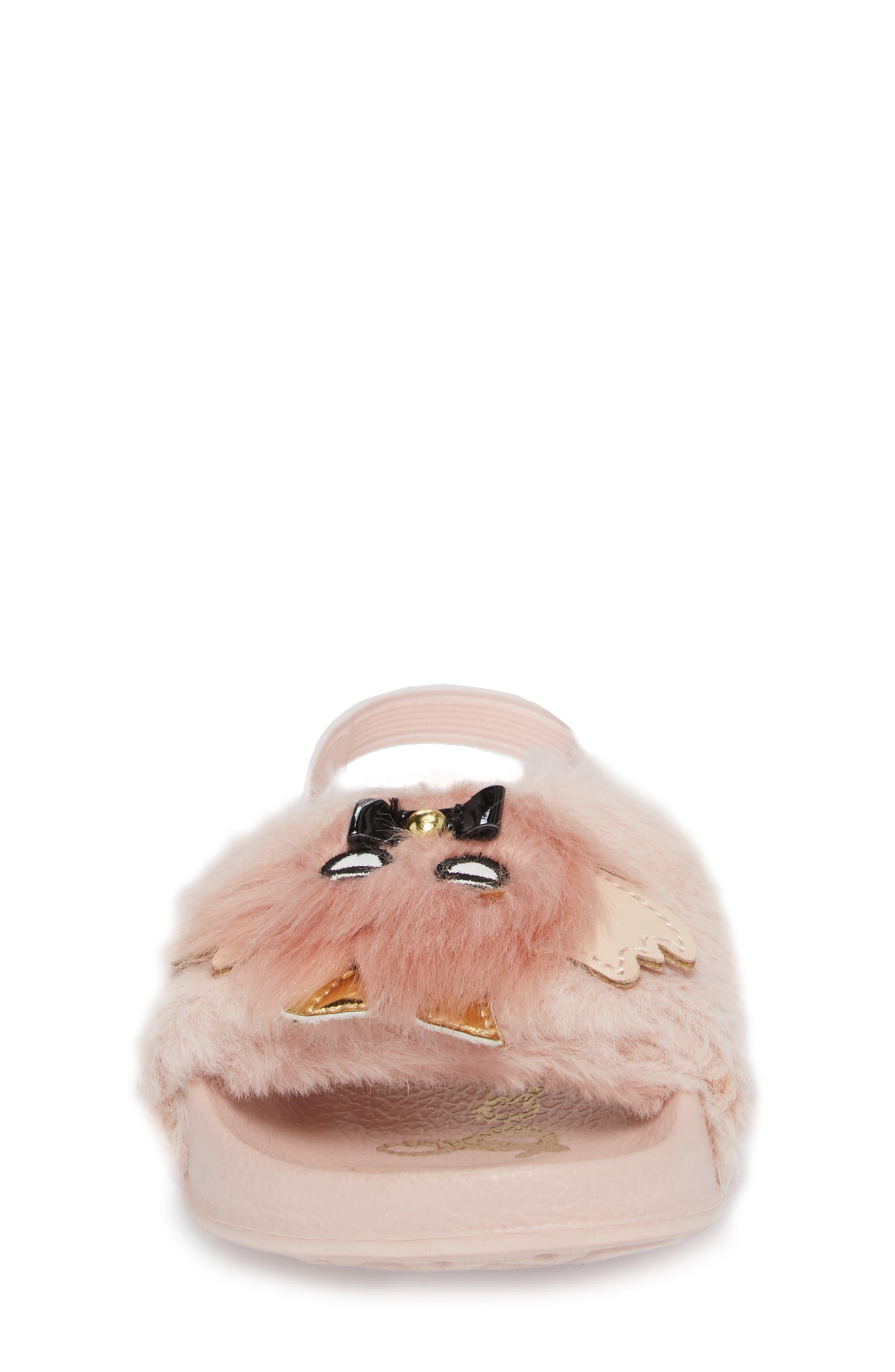 Mackie Faux Fur Sandal,                             Alternate thumbnail 4, color,                             654
