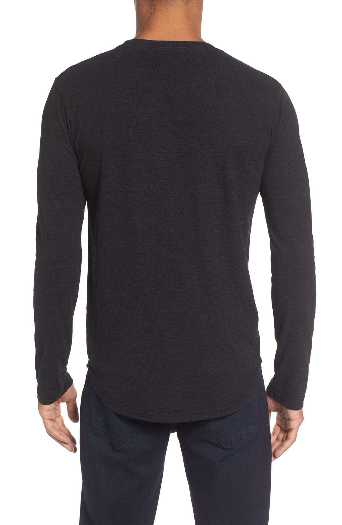 Triblend Scallop Long Sleeve Crewneck T-Shirt,                             Alternate thumbnail 4, color,                             BLACK
