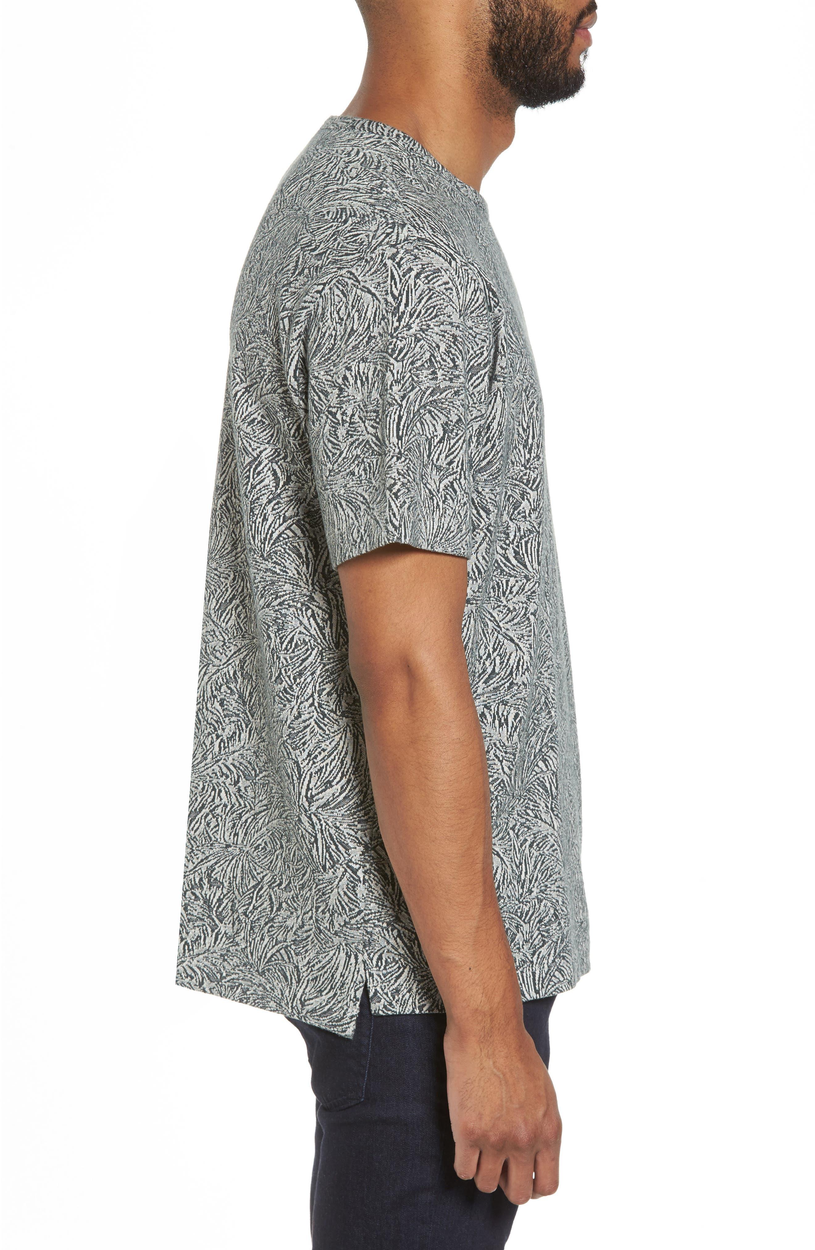 Palm Jacquard Crewneck T-Shirt,                             Alternate thumbnail 3, color,                             177