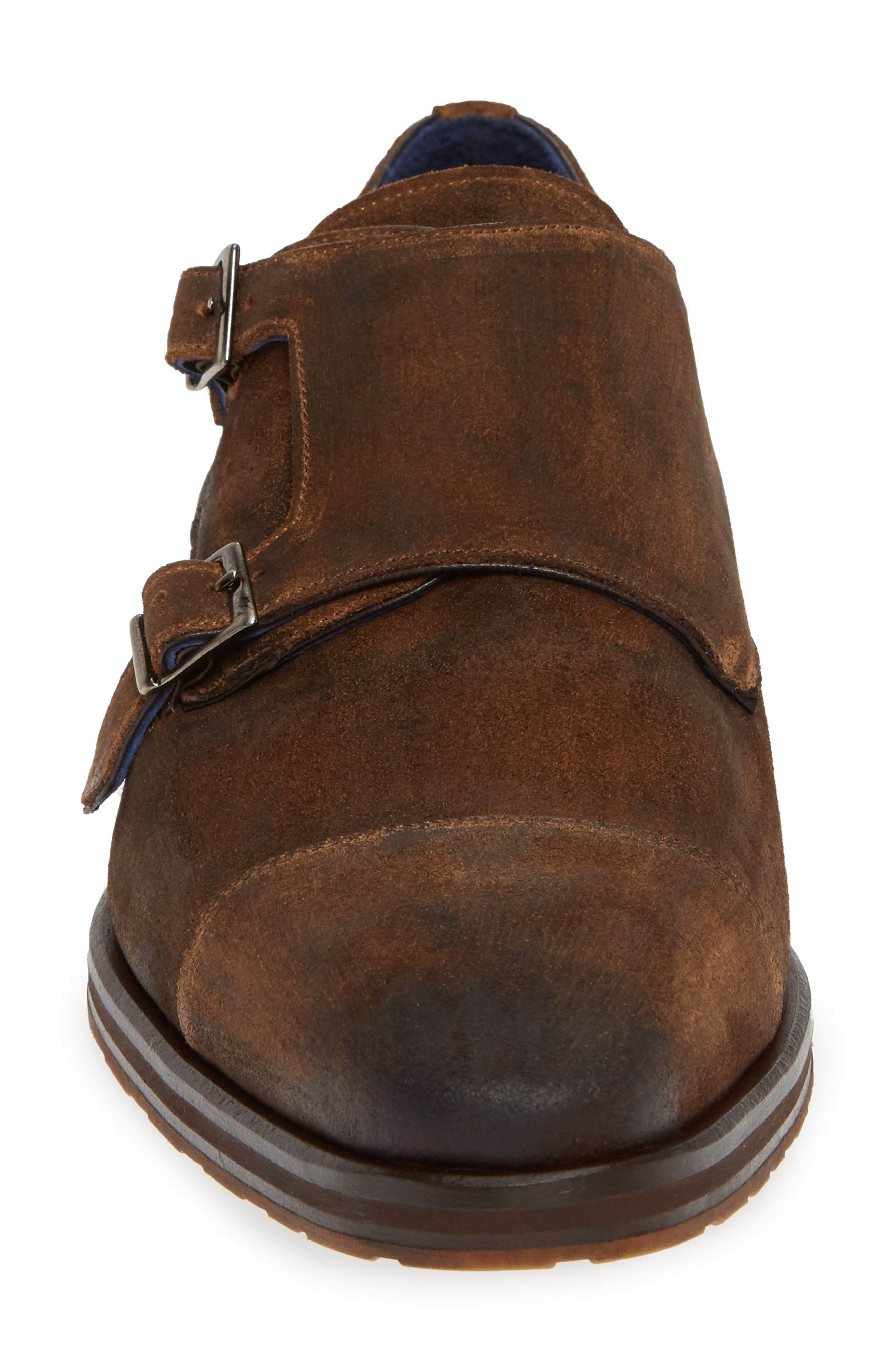 Miguel Double Monk Strap Shoe,                             Alternate thumbnail 4, color,                             TAN SUEDE