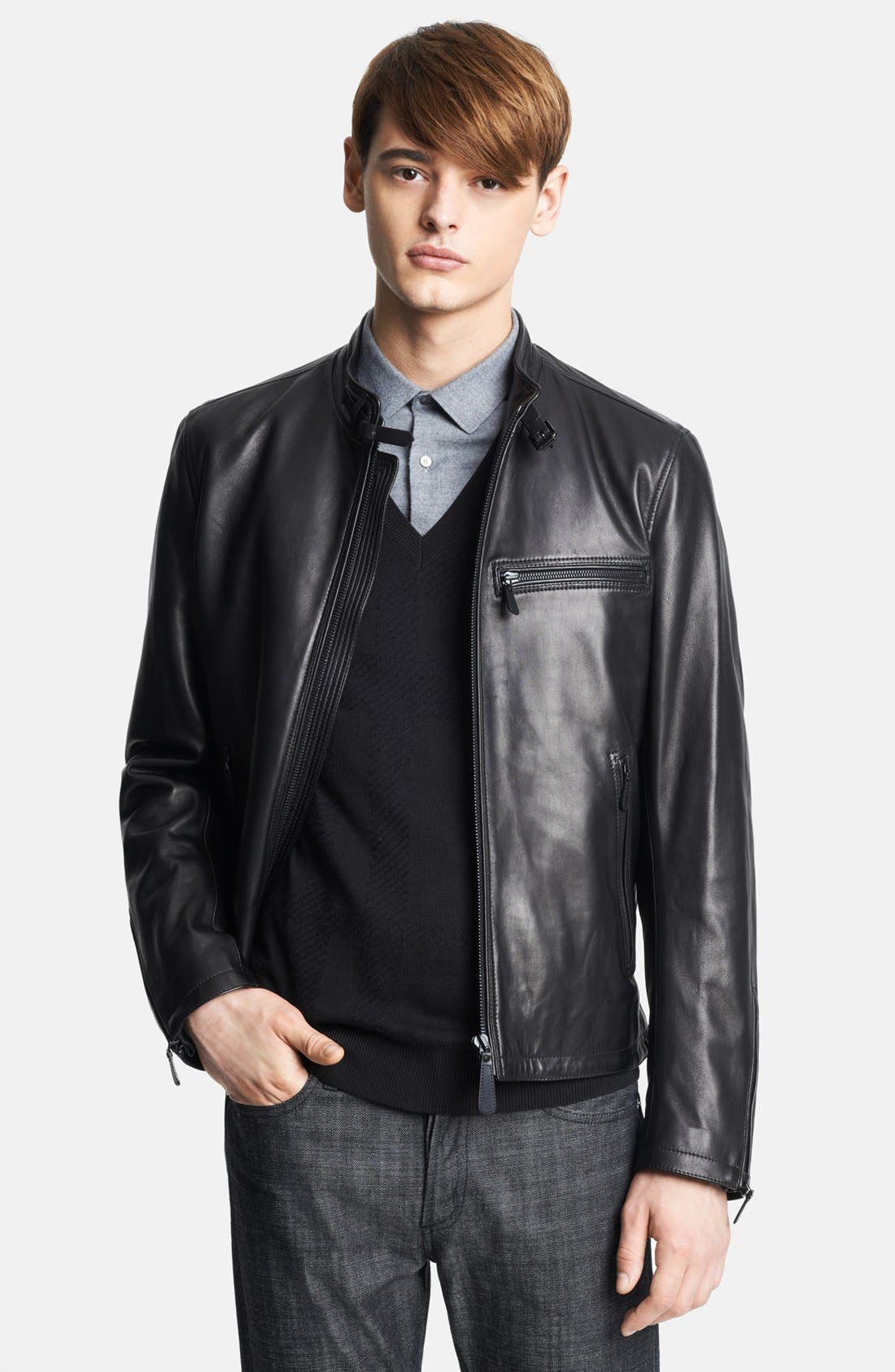 London 'Sterling' Leather Biker Jacket, Main, color, 001