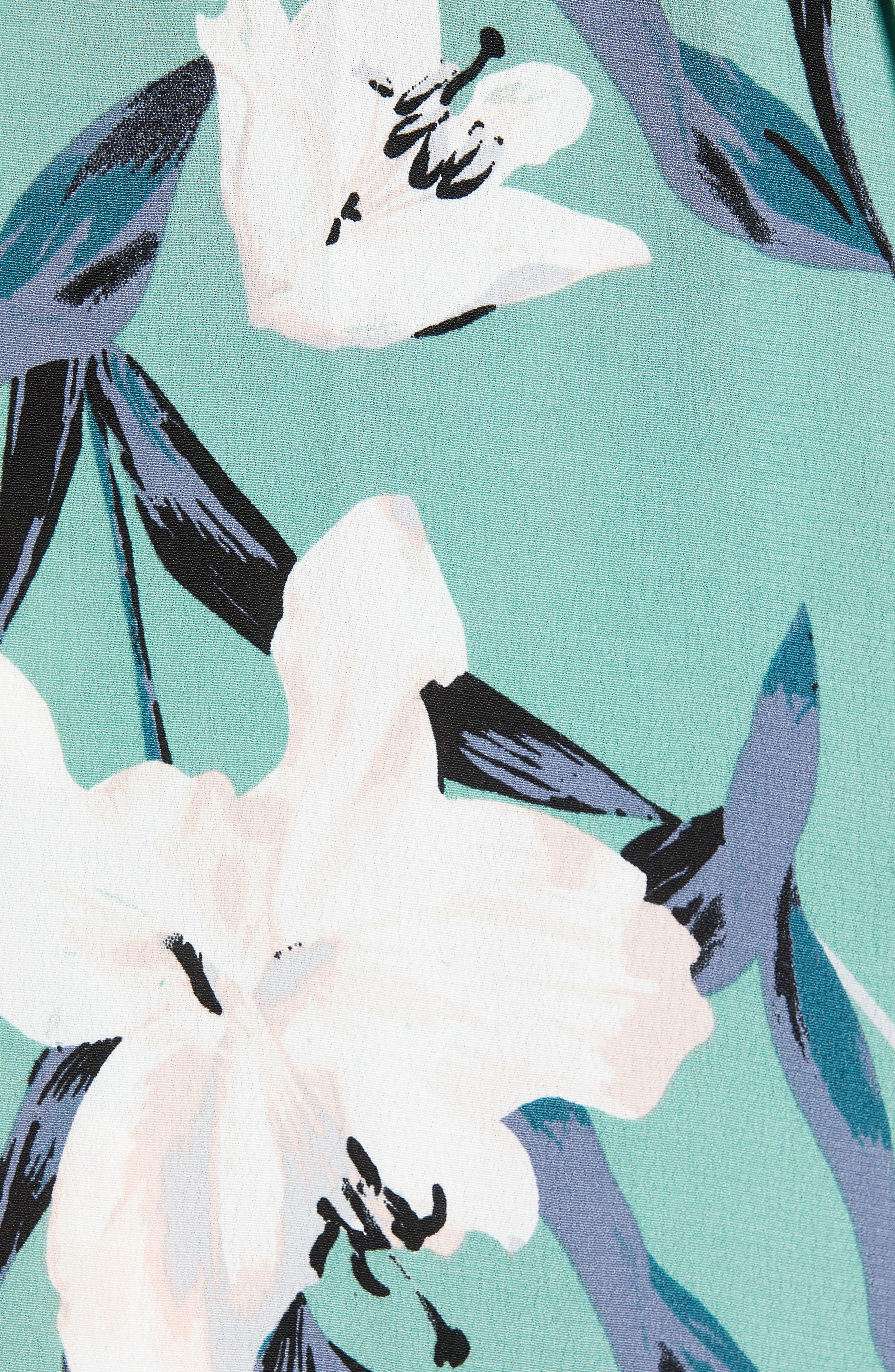 LEITH,                             Bell Sleeve Wrap Midi Dress,                             Alternate thumbnail 6, color,                             GREEN WING ROMANTIC FLR