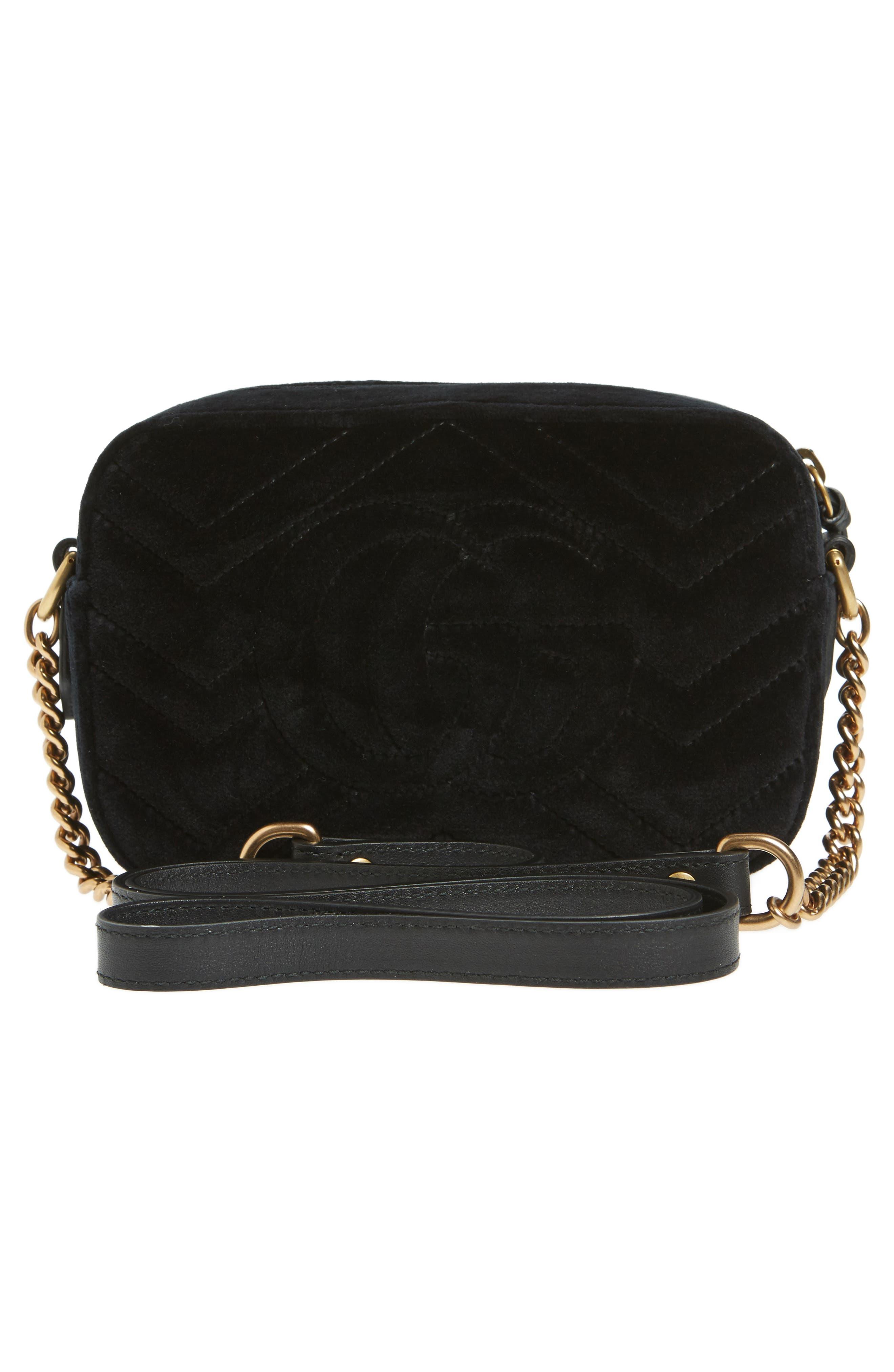 GG Marmont Crystal Matelassé Quilted Velvet Crossbody Bag,                             Alternate thumbnail 3, color,                             001