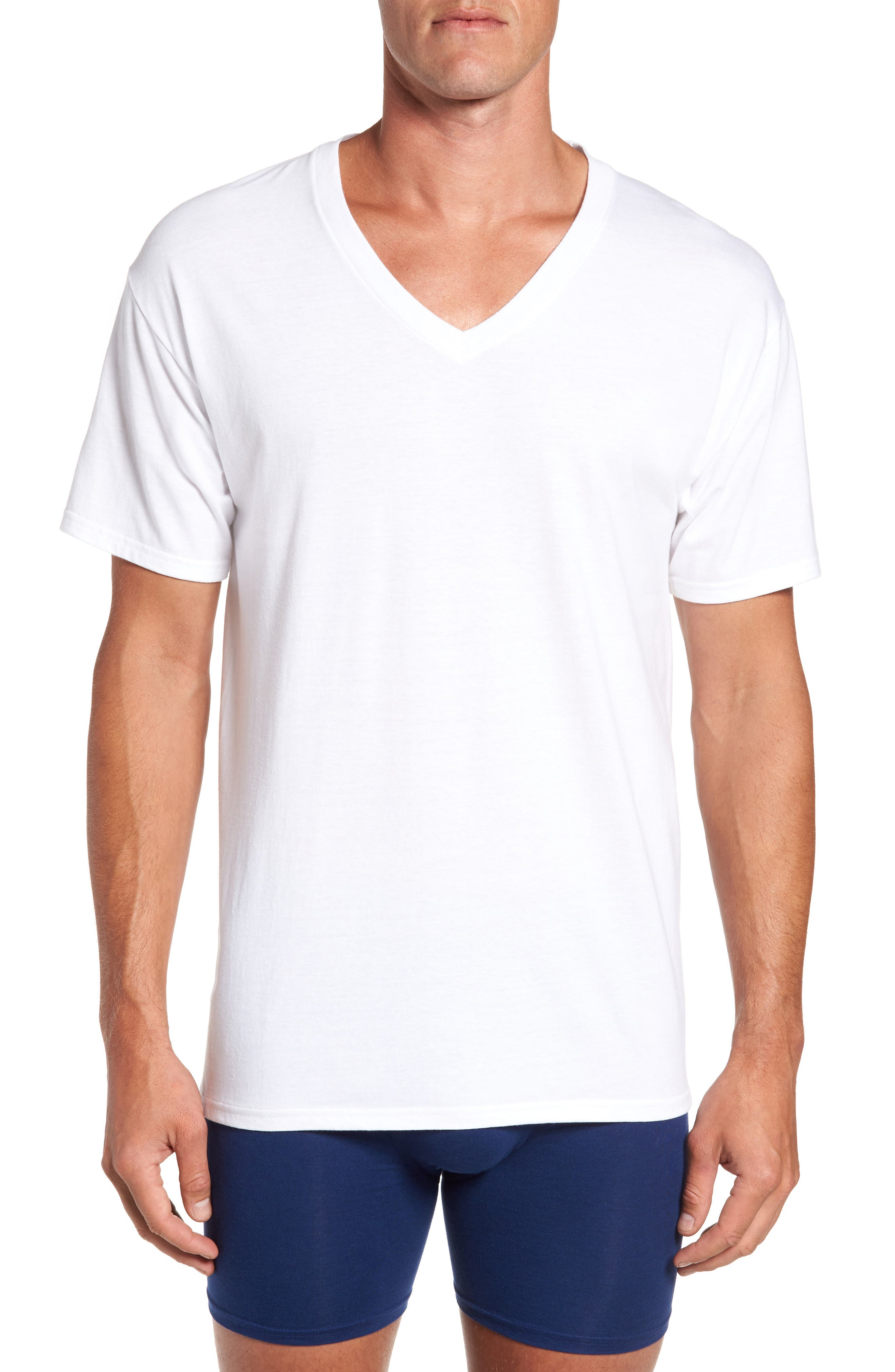 Luxury Essentials 3-Pack V-Neck T-Shirt, Main, color, 100