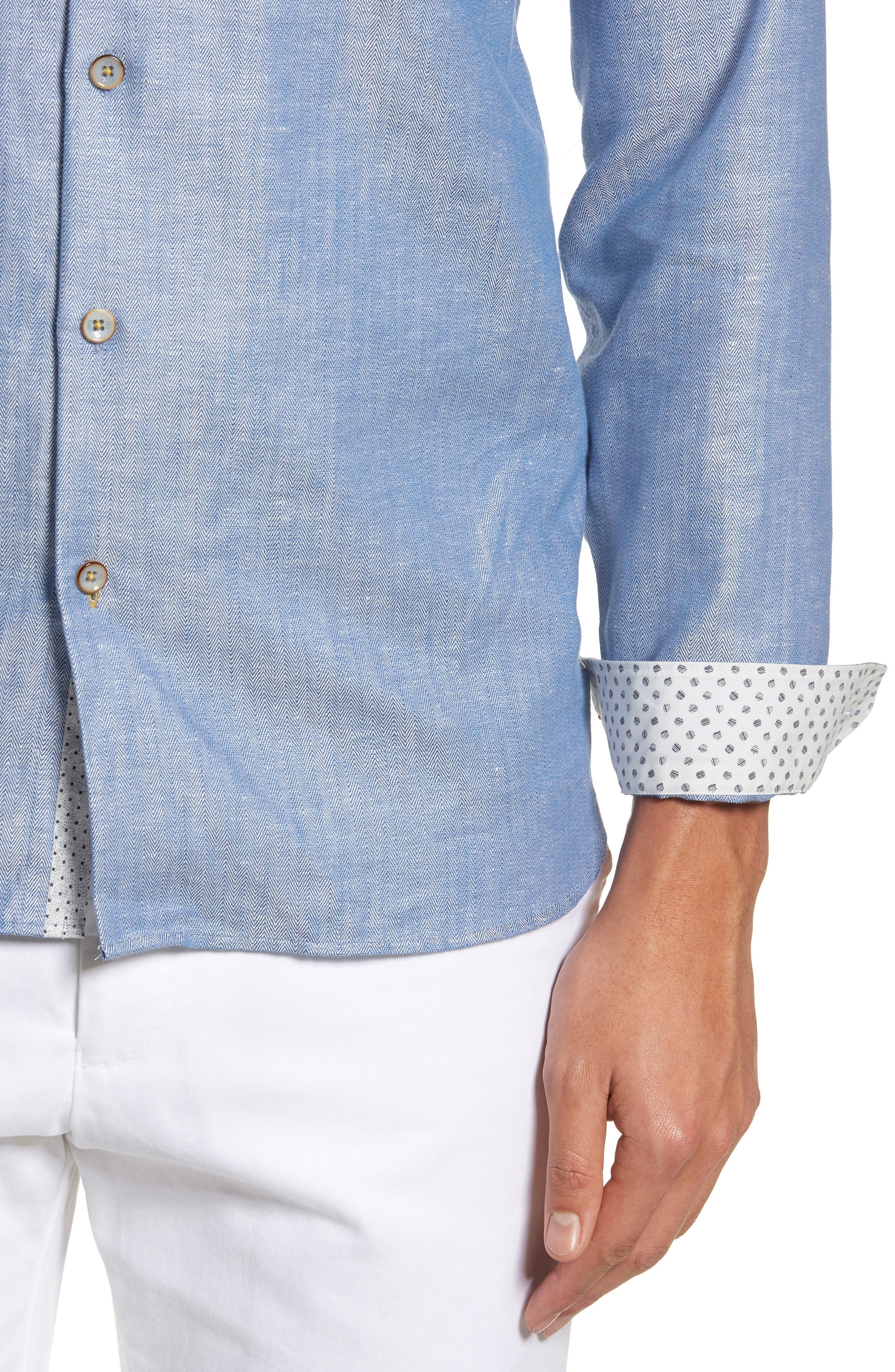 Linlins Herringbone Cotton & Linen Sport Shirt,                             Alternate thumbnail 18, color,