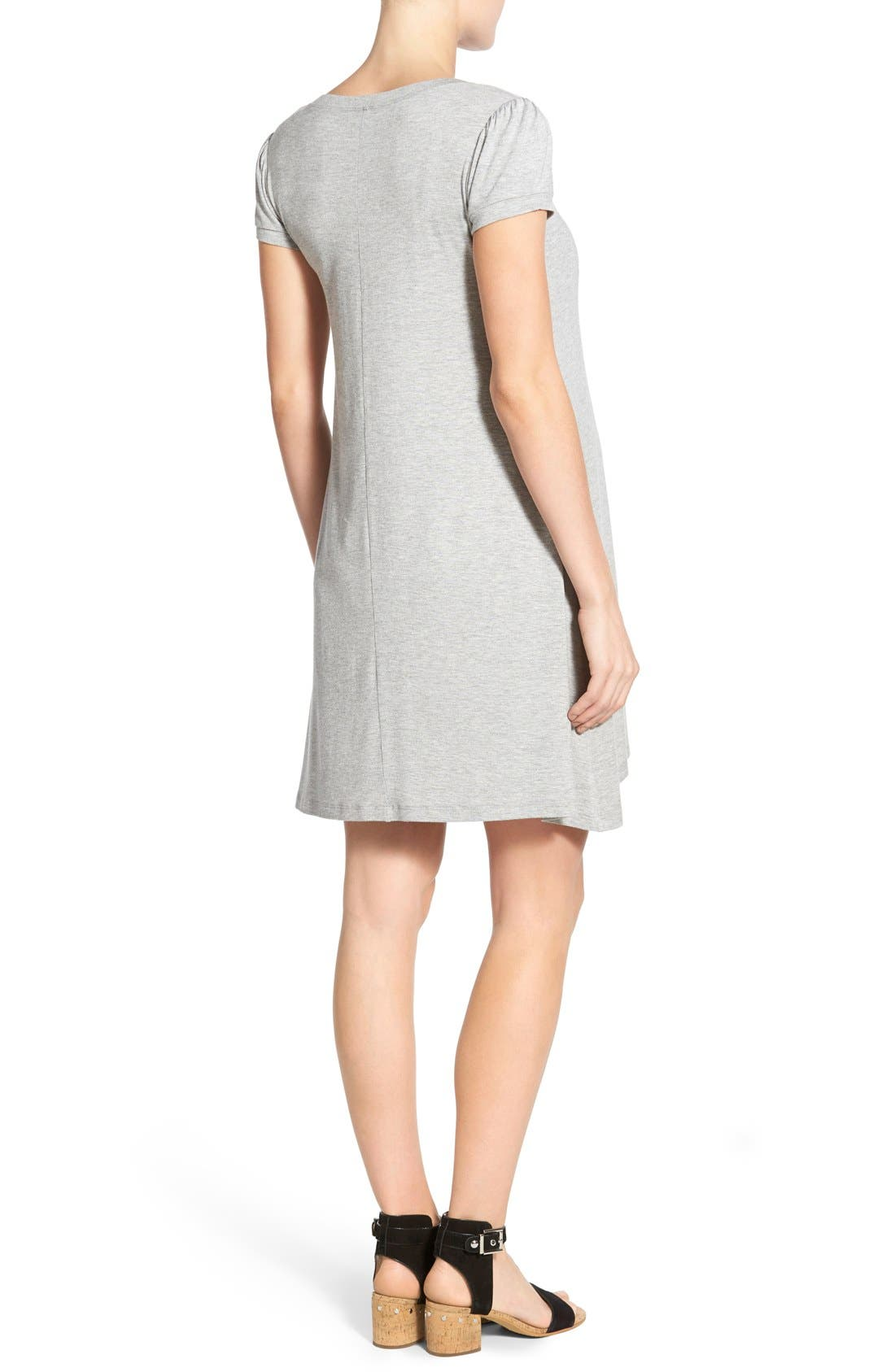 'Poppy' Maternity/Nursing Swing Dress,                             Alternate thumbnail 3, color,                             HEATHER GRAY