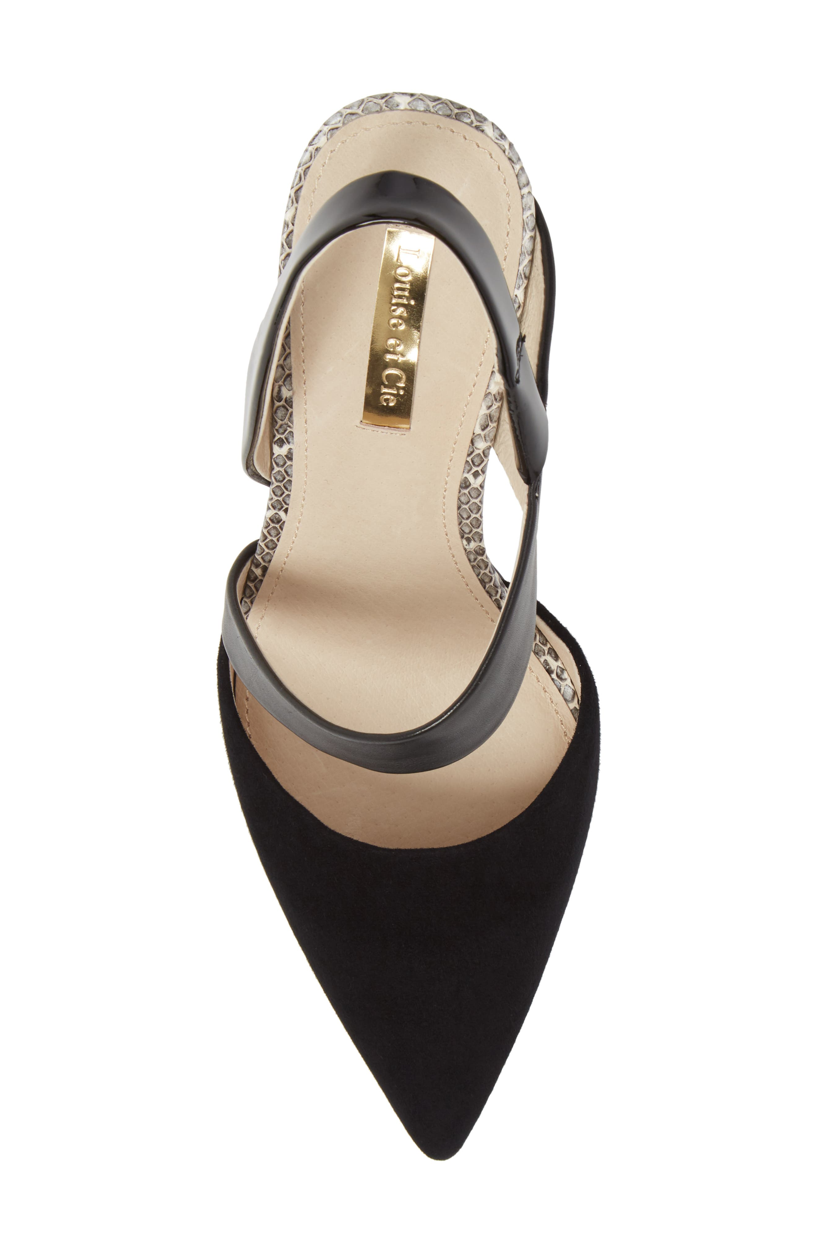 Jerry Pointy Toe Slingback Pump,                             Alternate thumbnail 5, color,                             BLACK SUEDE