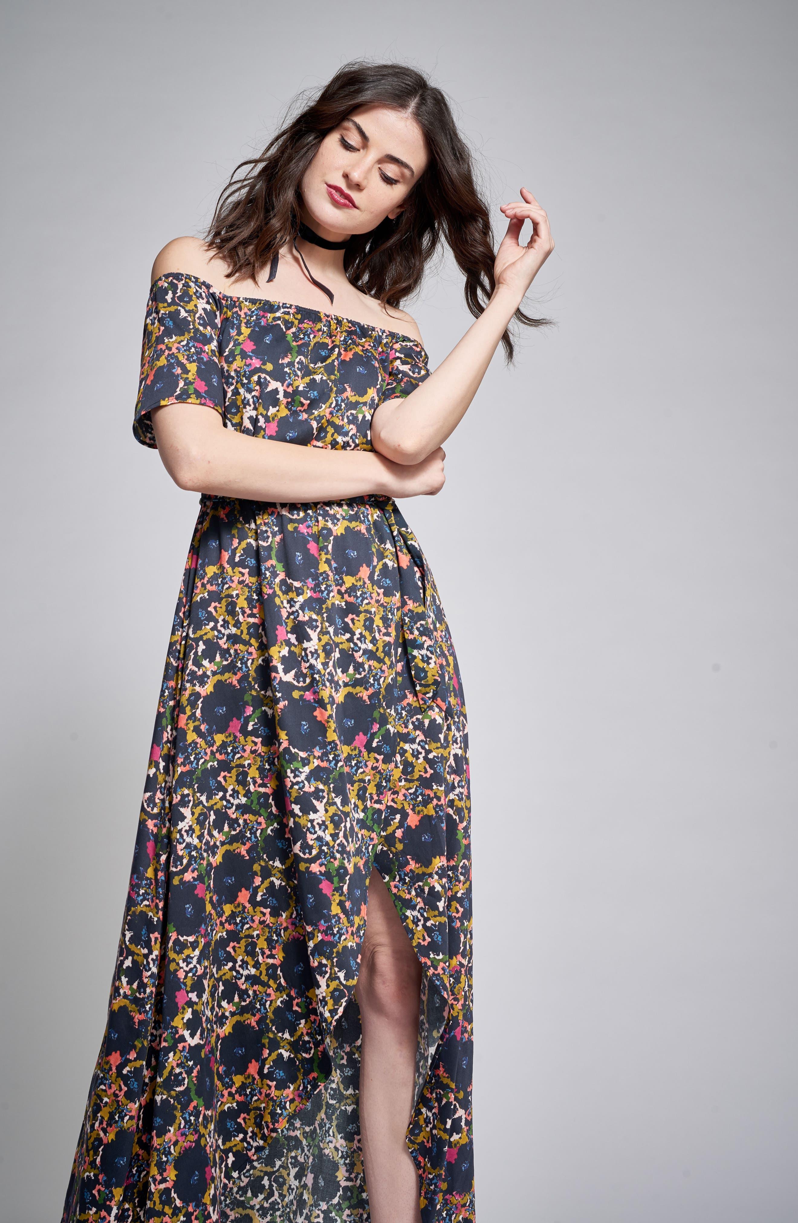 Off the Shoulder Crepe Maxi Dress,                             Alternate thumbnail 9, color,