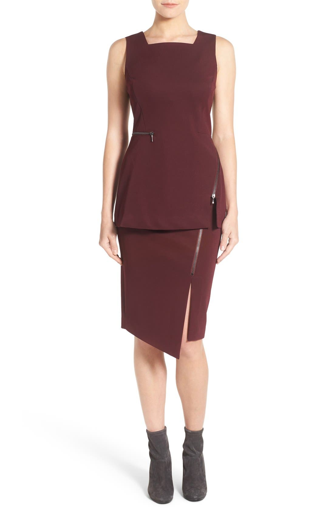 Asymmetrical Zip Pencil Skirt,                             Alternate thumbnail 16, color,