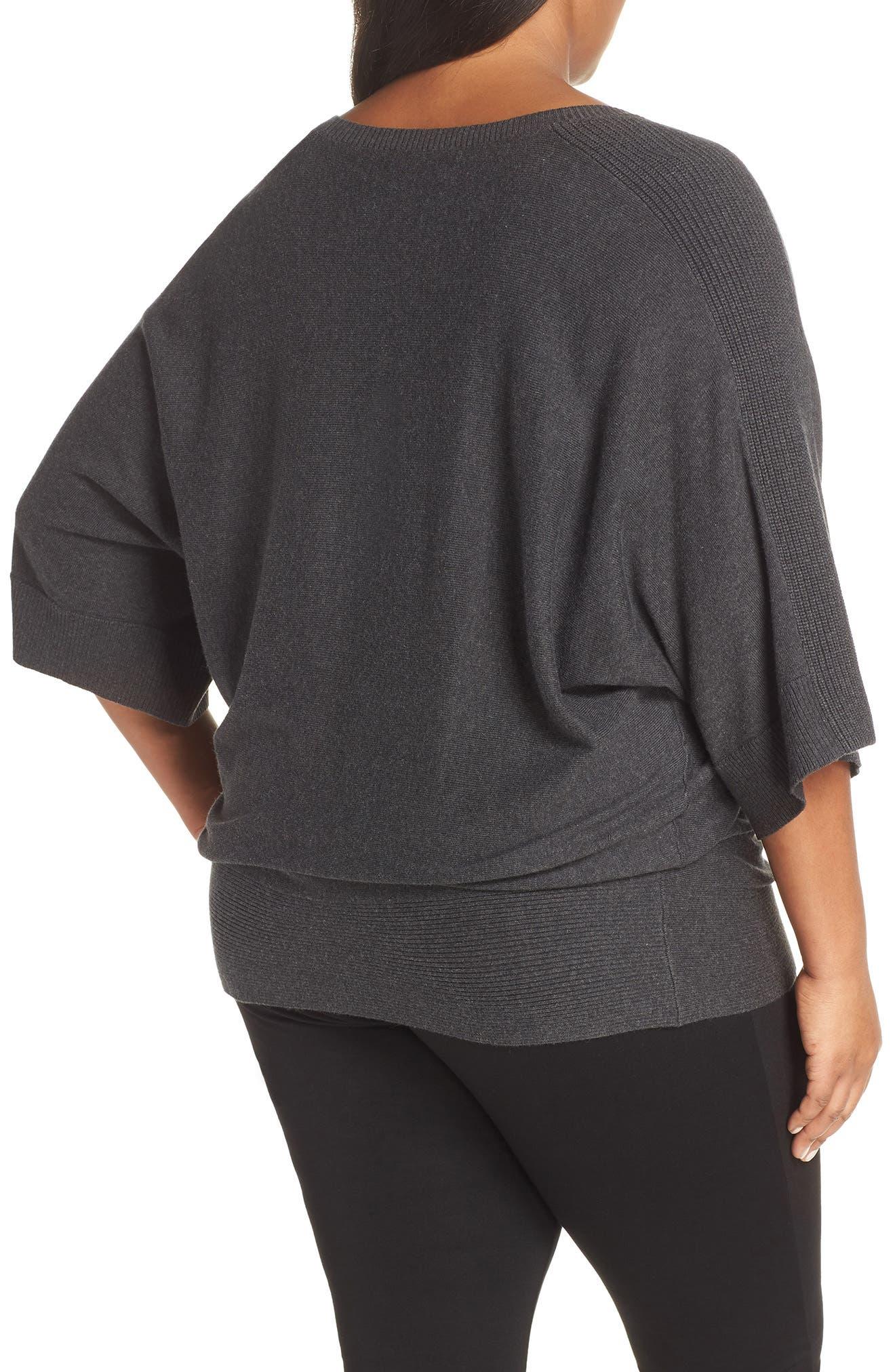 Cotton Blend Kimono Sweater,                             Alternate thumbnail 2, color,                             GREY DARK CHARCOAL HEATHER