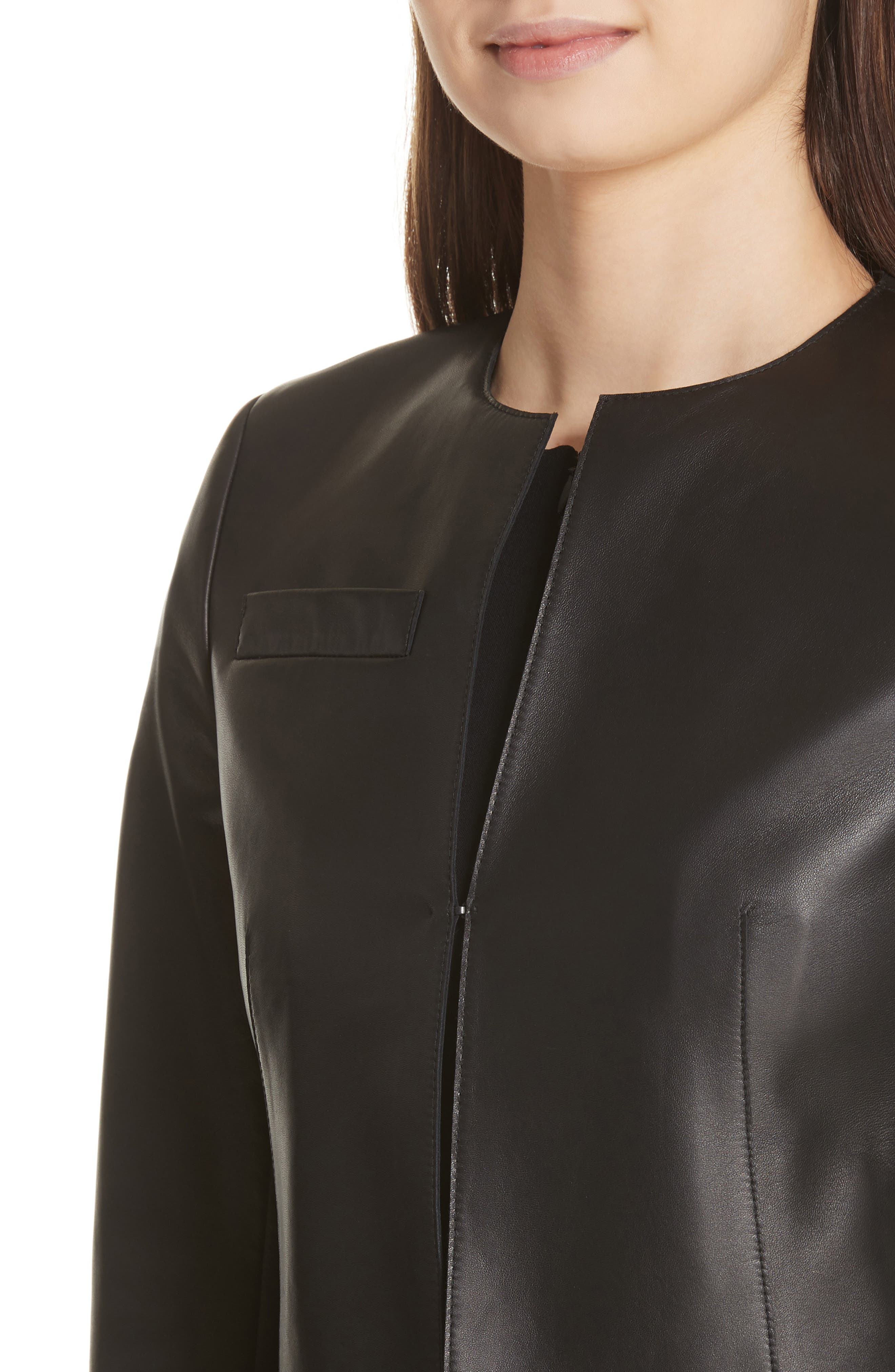 'Hasso' Leather Crop Jacket,                             Alternate thumbnail 5, color,                             BLACK