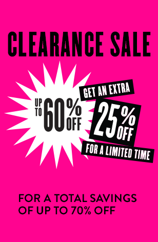 Get an extra 25% off Clearance for a total savings of up to 70% off!