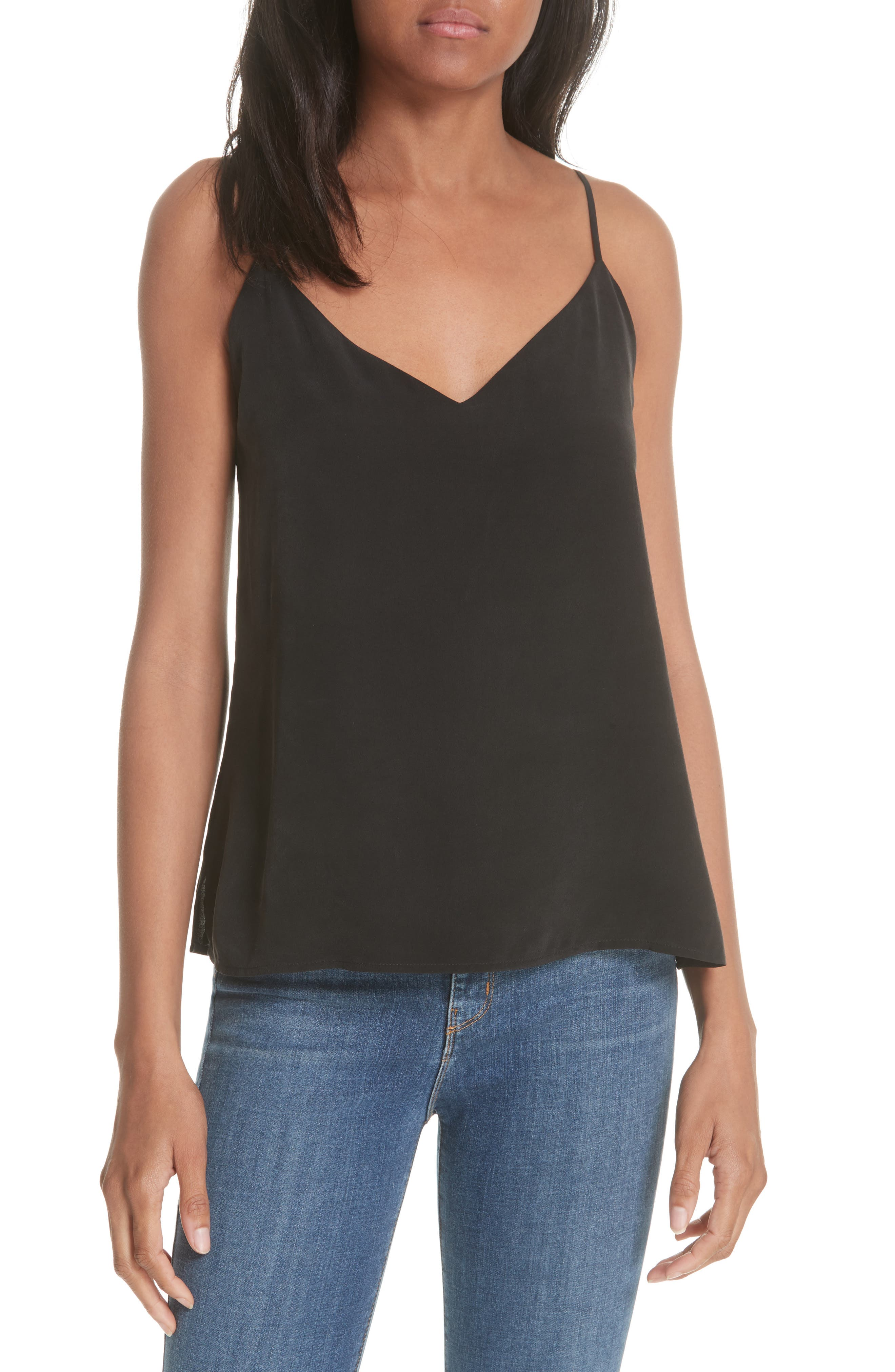 'Jane' Silk Tank,                             Main thumbnail 1, color,                             BLACK