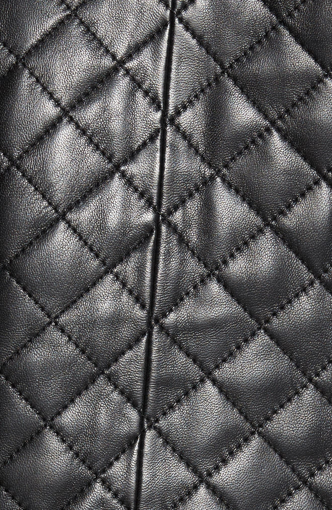 Quilted Leather Baseball Jacket,                             Alternate thumbnail 6, color,                             001