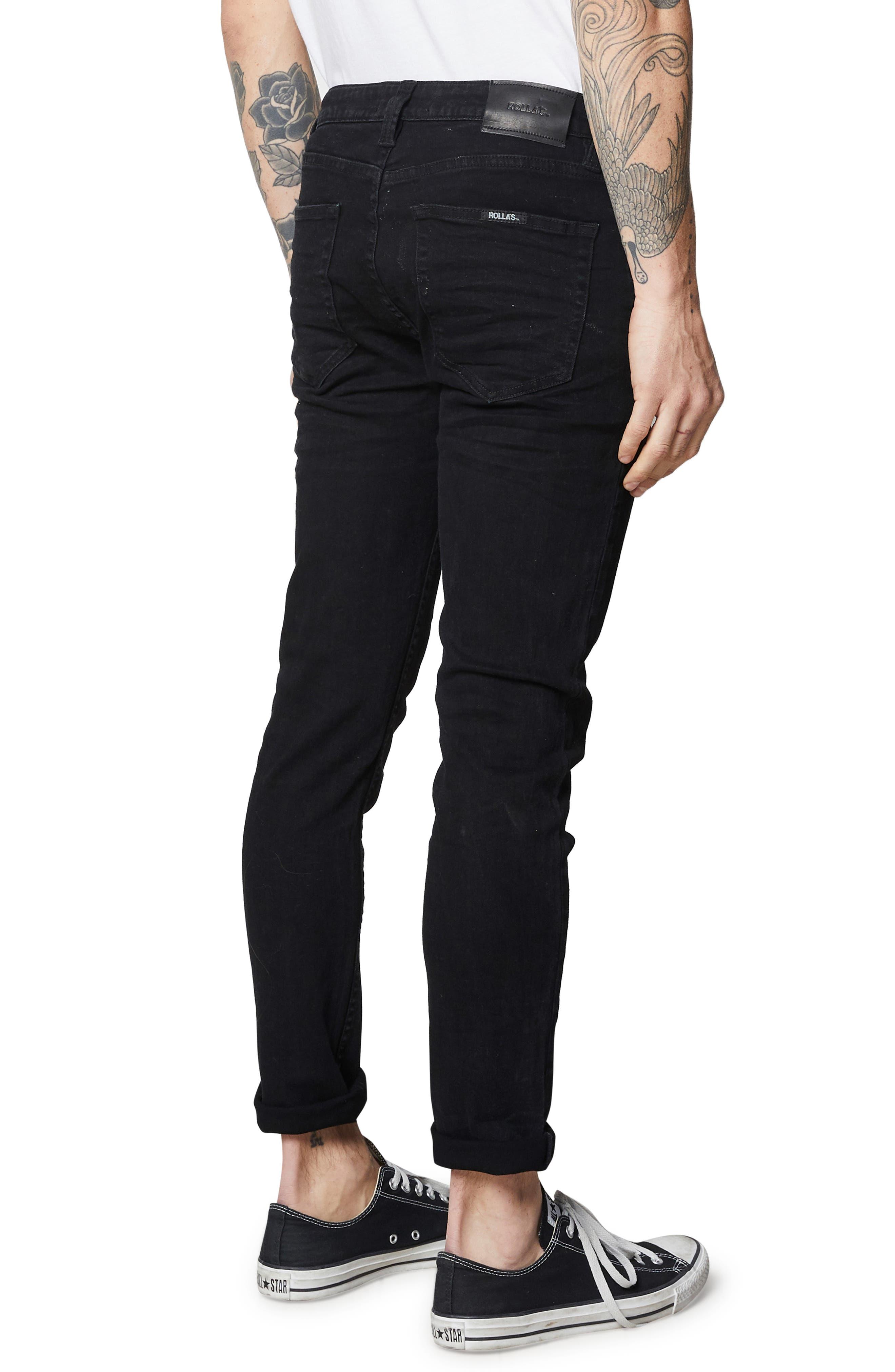 Rollies Slim Fit Jeans,                             Alternate thumbnail 4, color,                             BLACK RAVEN