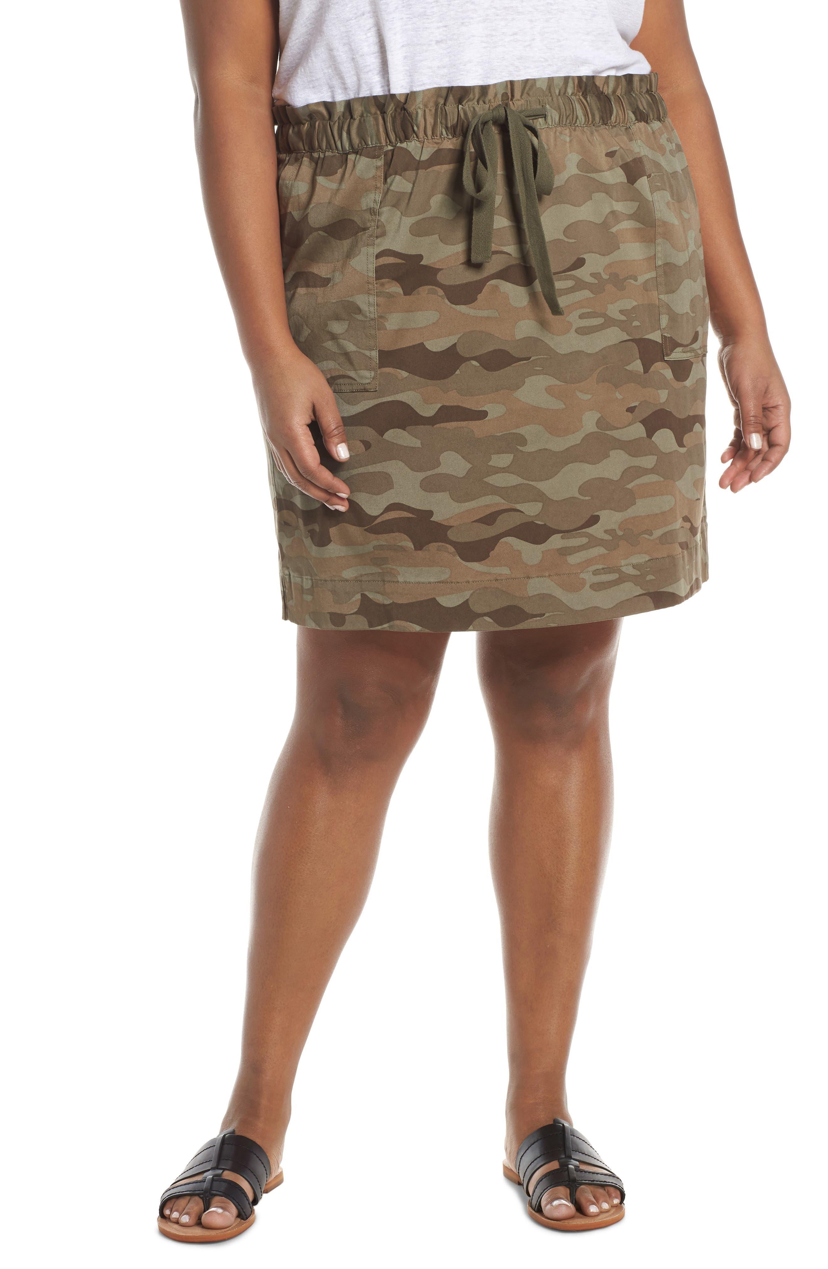 Plus Size Caslon Paperbag Waist Skirt, Green
