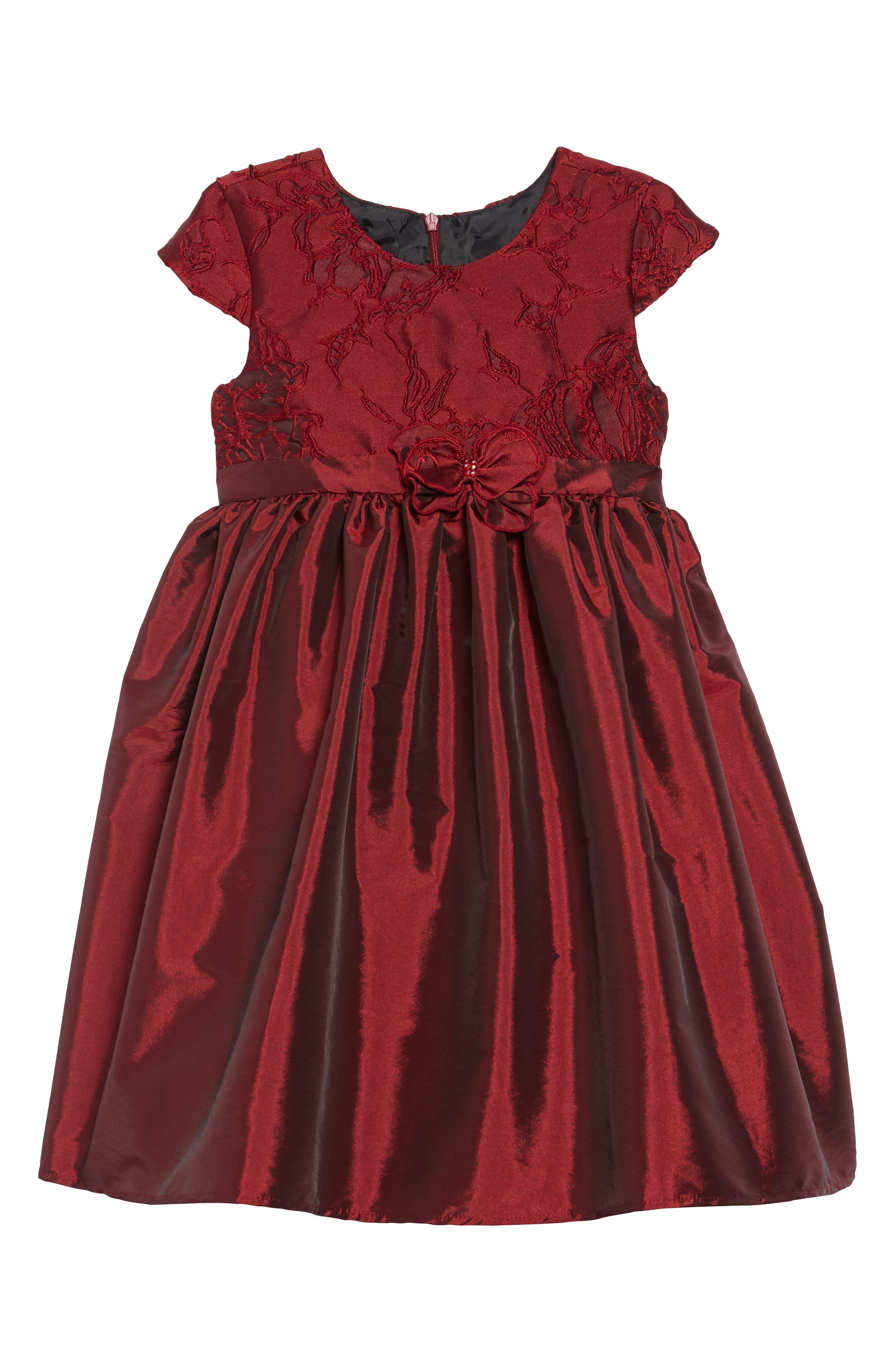 Ruby Spice Lace & Taffeta Dress, Main, color, BURGUNDY