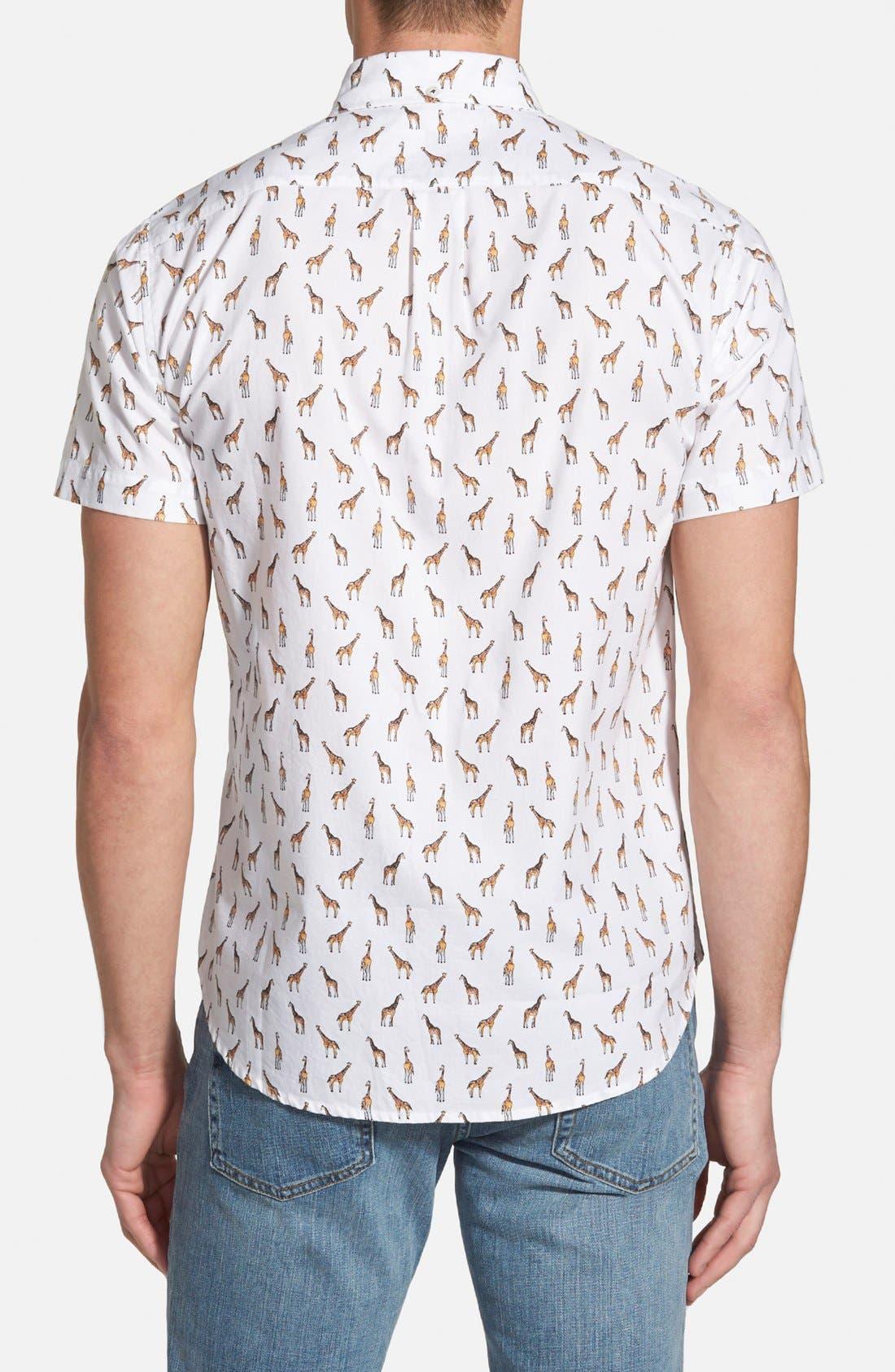 'Giraffe Tower Print' Slim Fit Short Sleeve Sport Shirt,                             Alternate thumbnail 2, color,                             100