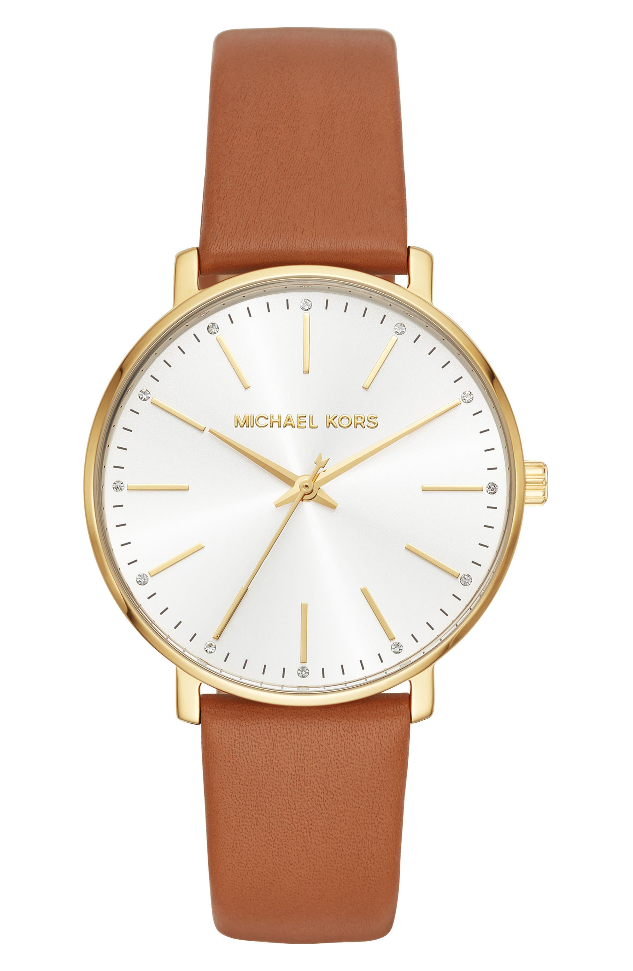 Pyper Leather Strap Watch, 38mm,                         Main,                         color, TAN/ GOLD