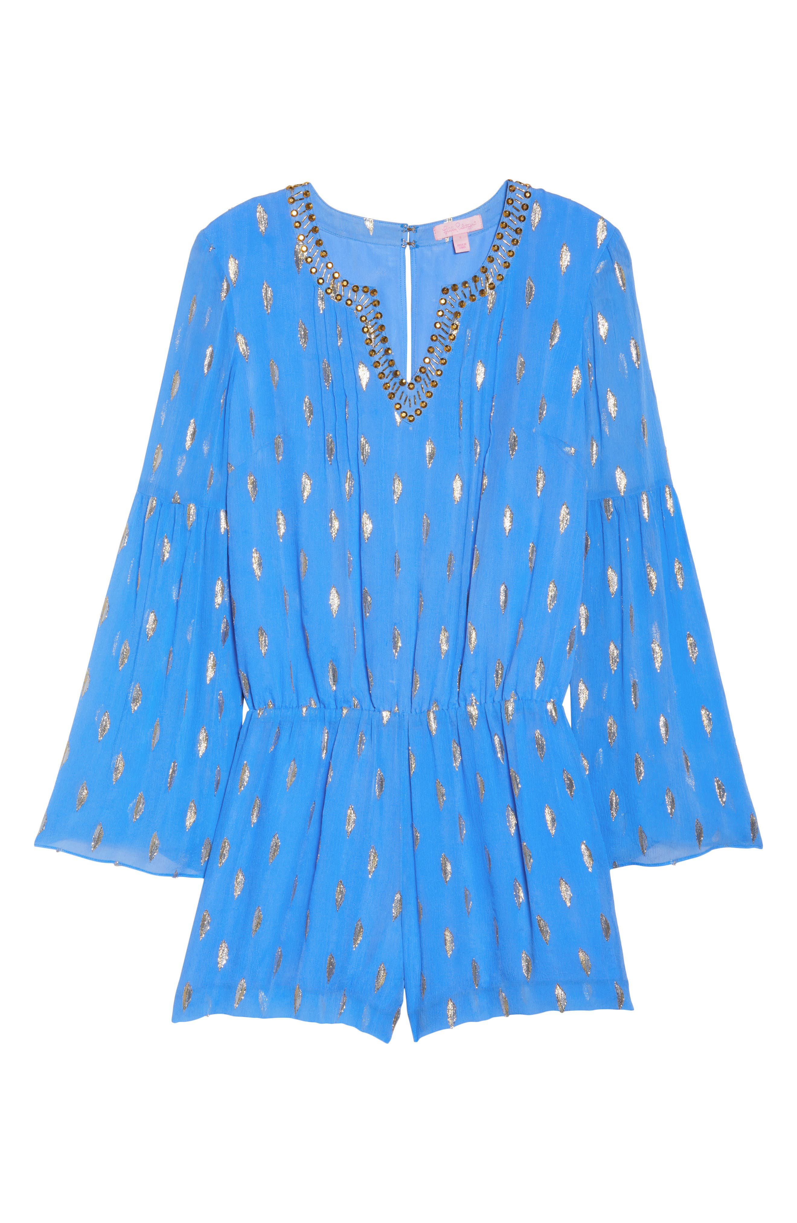 LILLY PULITZER<SUP>®</SUP>,                             Ariele Silk Romper,                             Alternate thumbnail 6, color,                             400