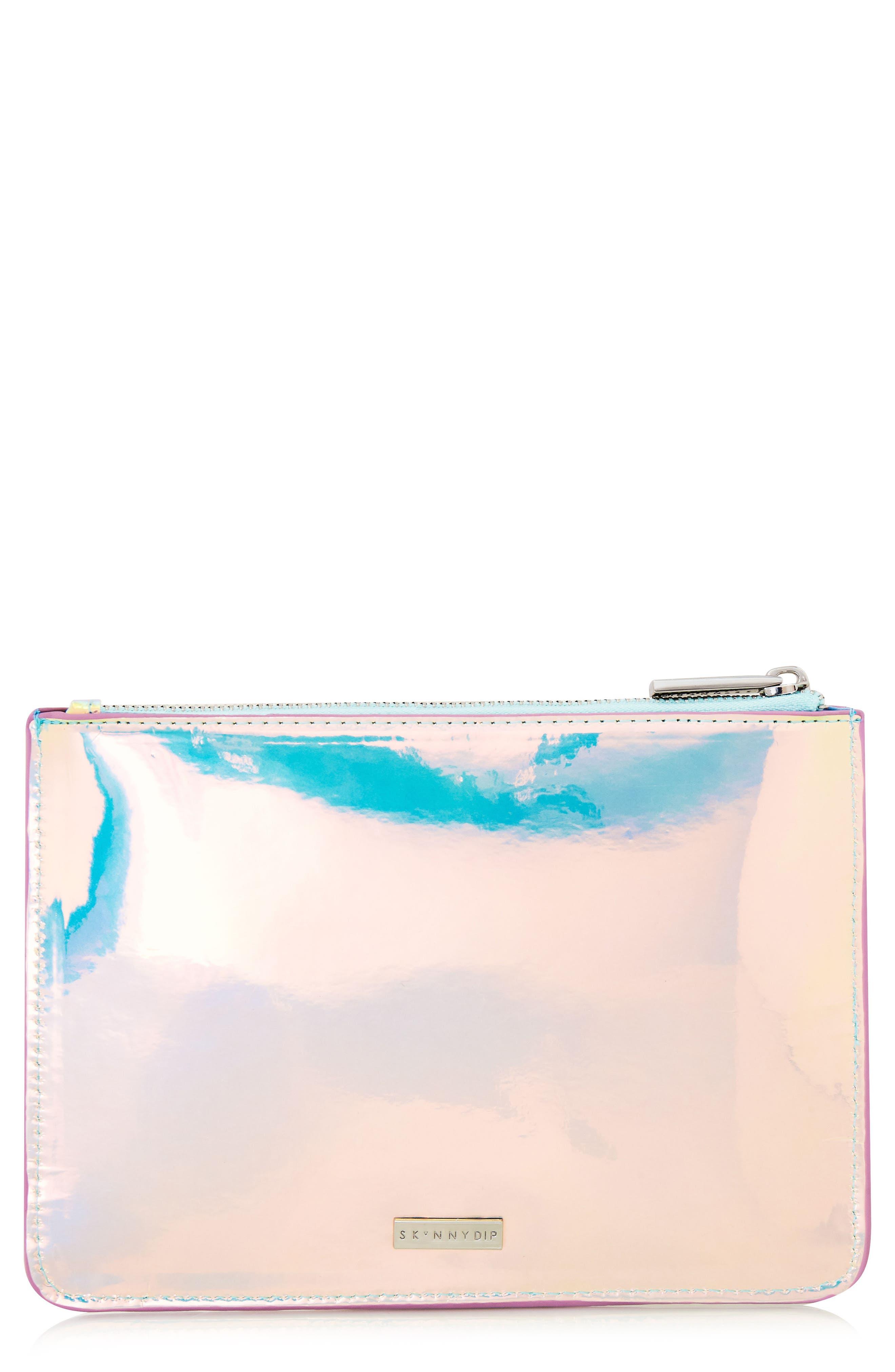 Skinny Dip Ocean Makeup Bag,                             Main thumbnail 1, color,                             000