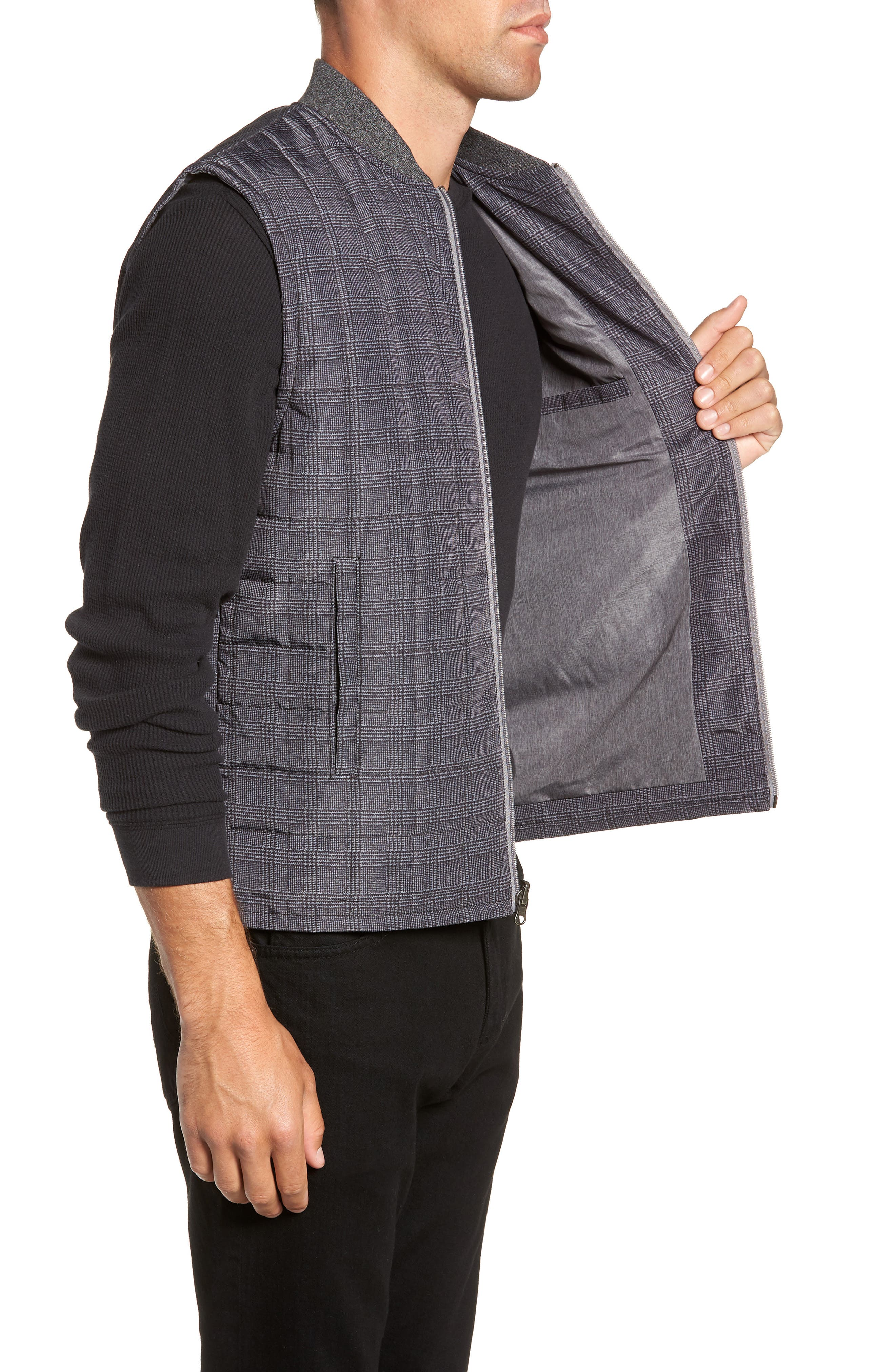 Romeo Plaid Quilted Vest,                             Alternate thumbnail 3, color,                             CHARCOAL