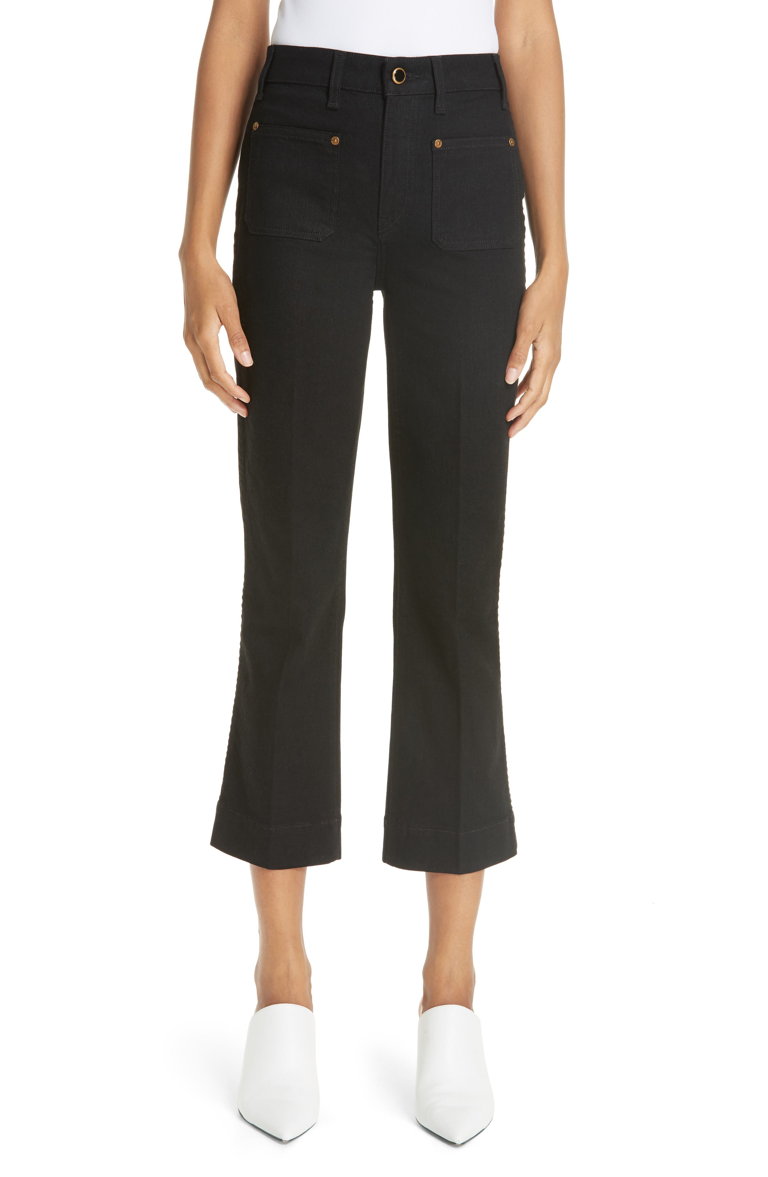 Patch Pocket Crop Flare Jeans,                             Main thumbnail 1, color,                             BLACK RINSE
