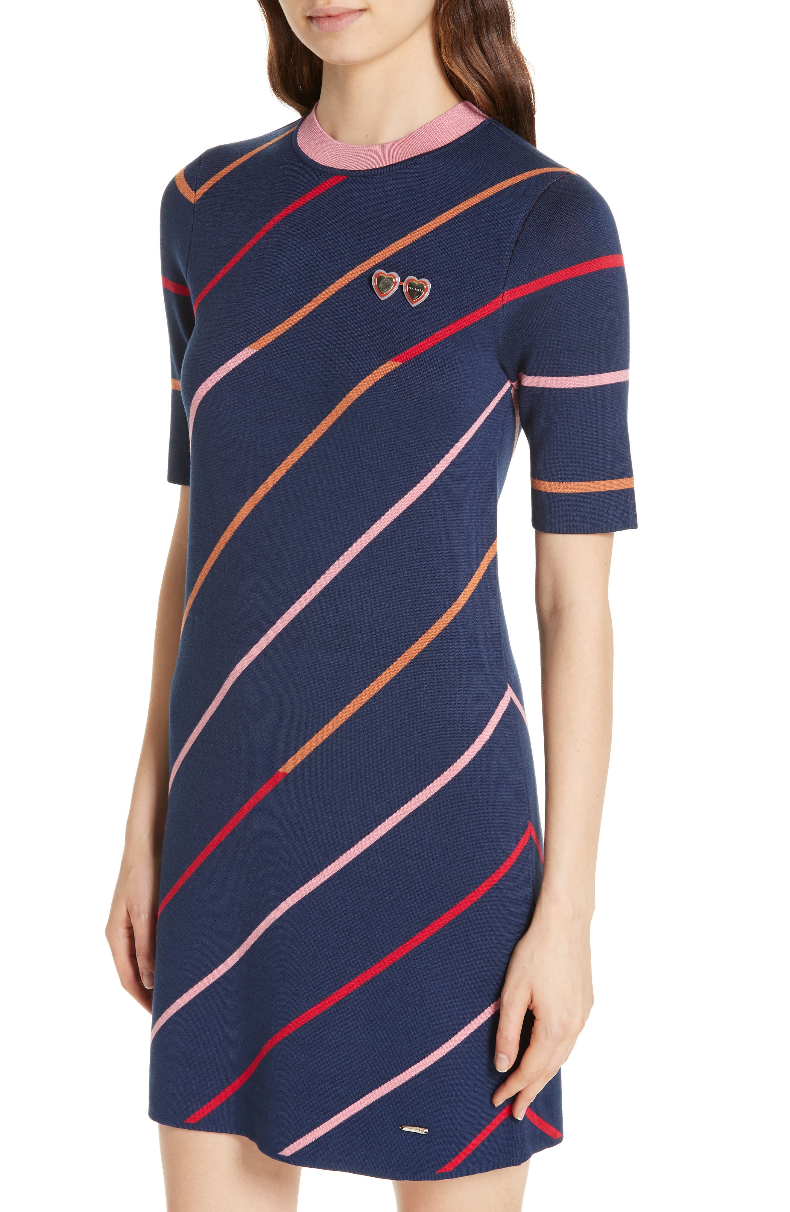 Colour by Numbers Pelinor Stripe Dress,                             Alternate thumbnail 4, color,                             410