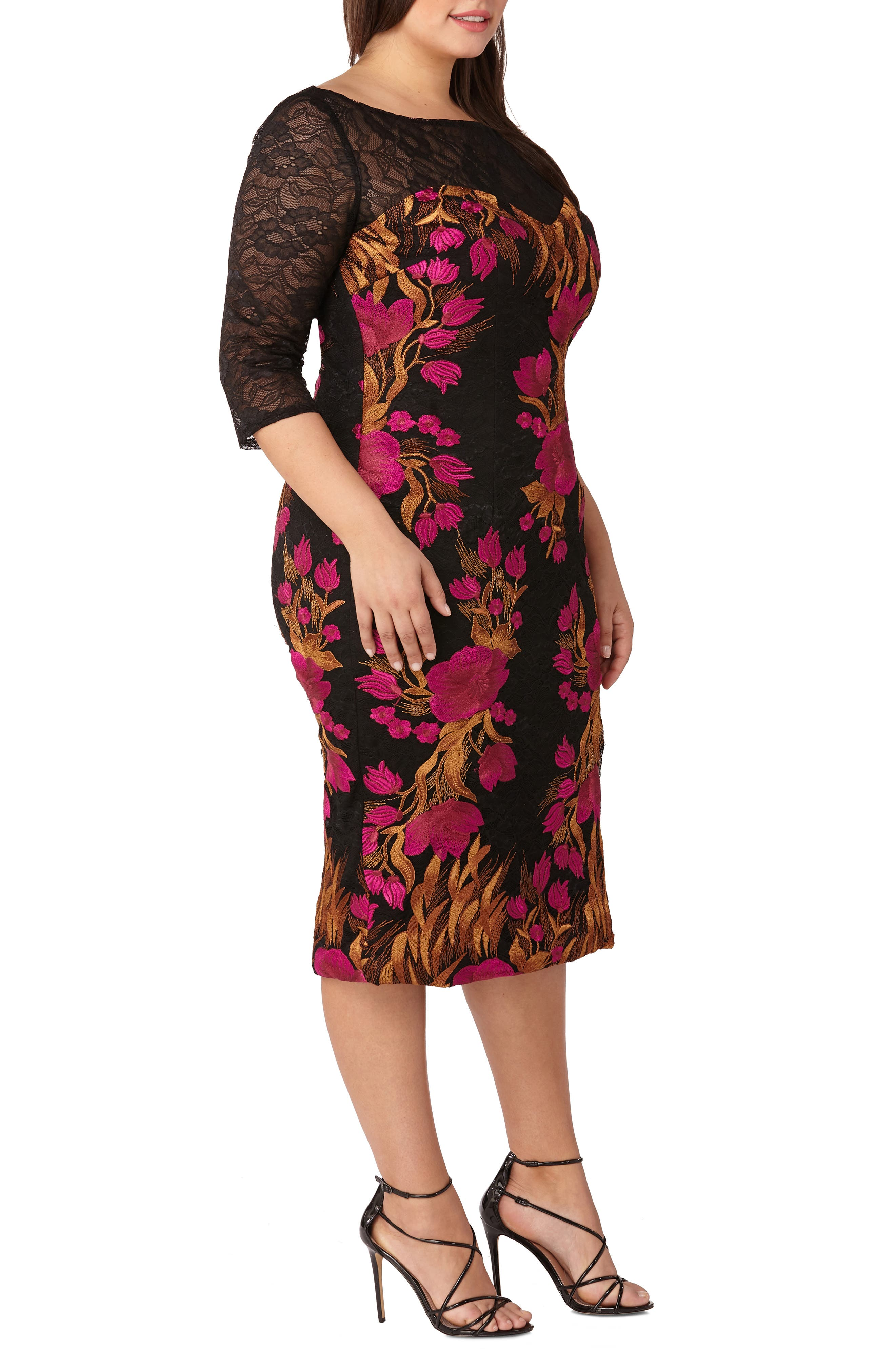 Embroidered Lace Cocktail Dress,                             Alternate thumbnail 3, color,                             MAGENTA/ MULTI