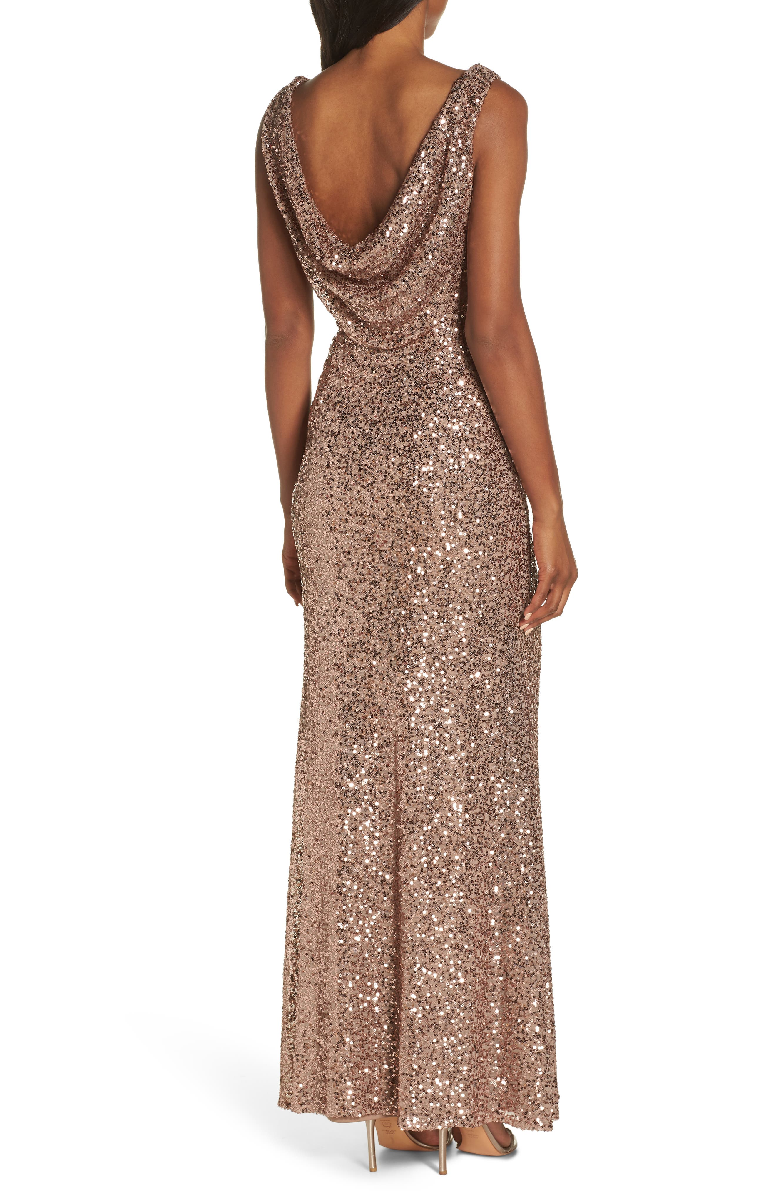 Cowl Neck Sequin Gown,                             Alternate thumbnail 2, color,                             ROSE GOLD