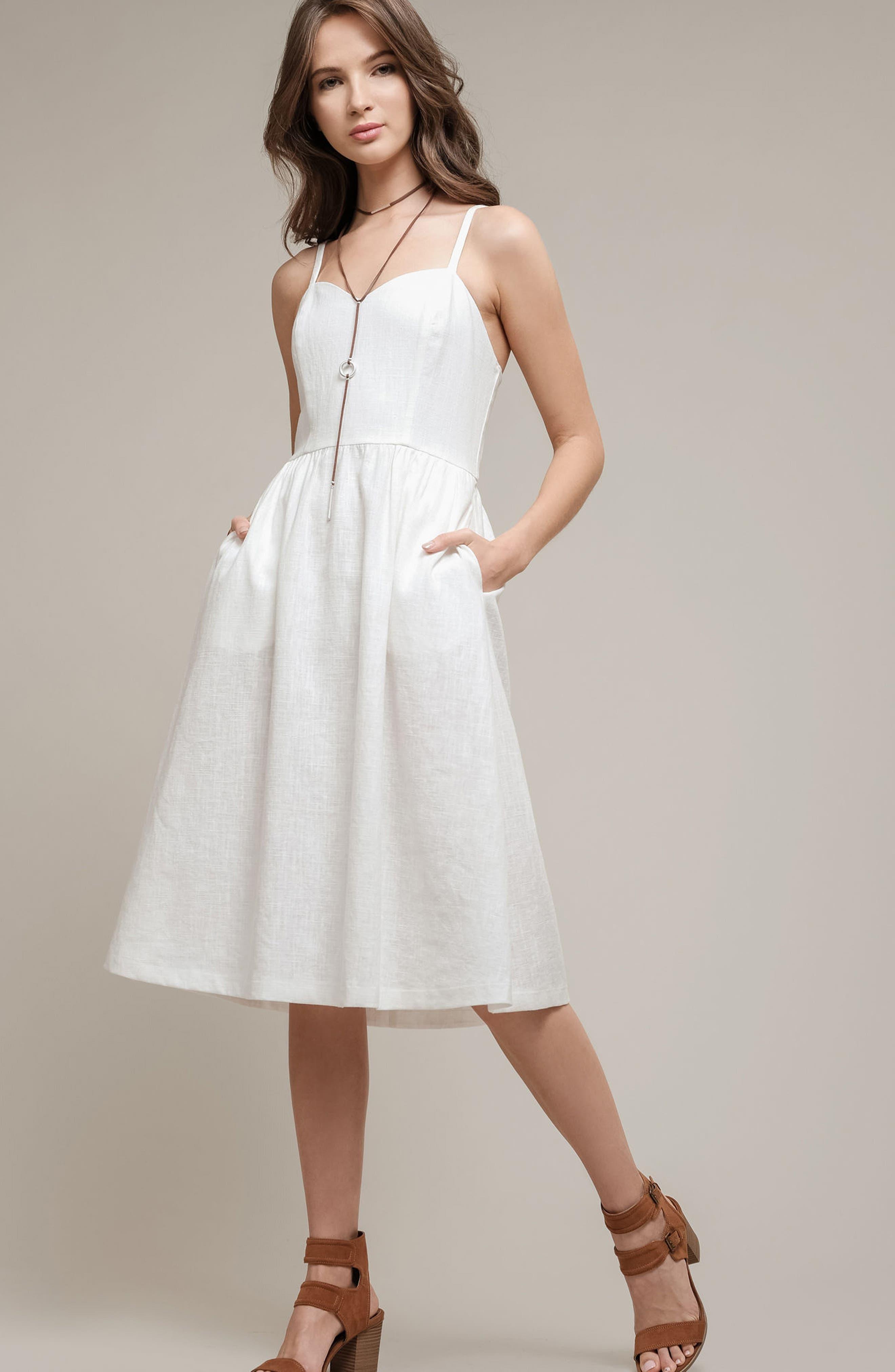 Cotton & Linen Ballerina Midi Dress,                             Alternate thumbnail 7, color,                             WHITE