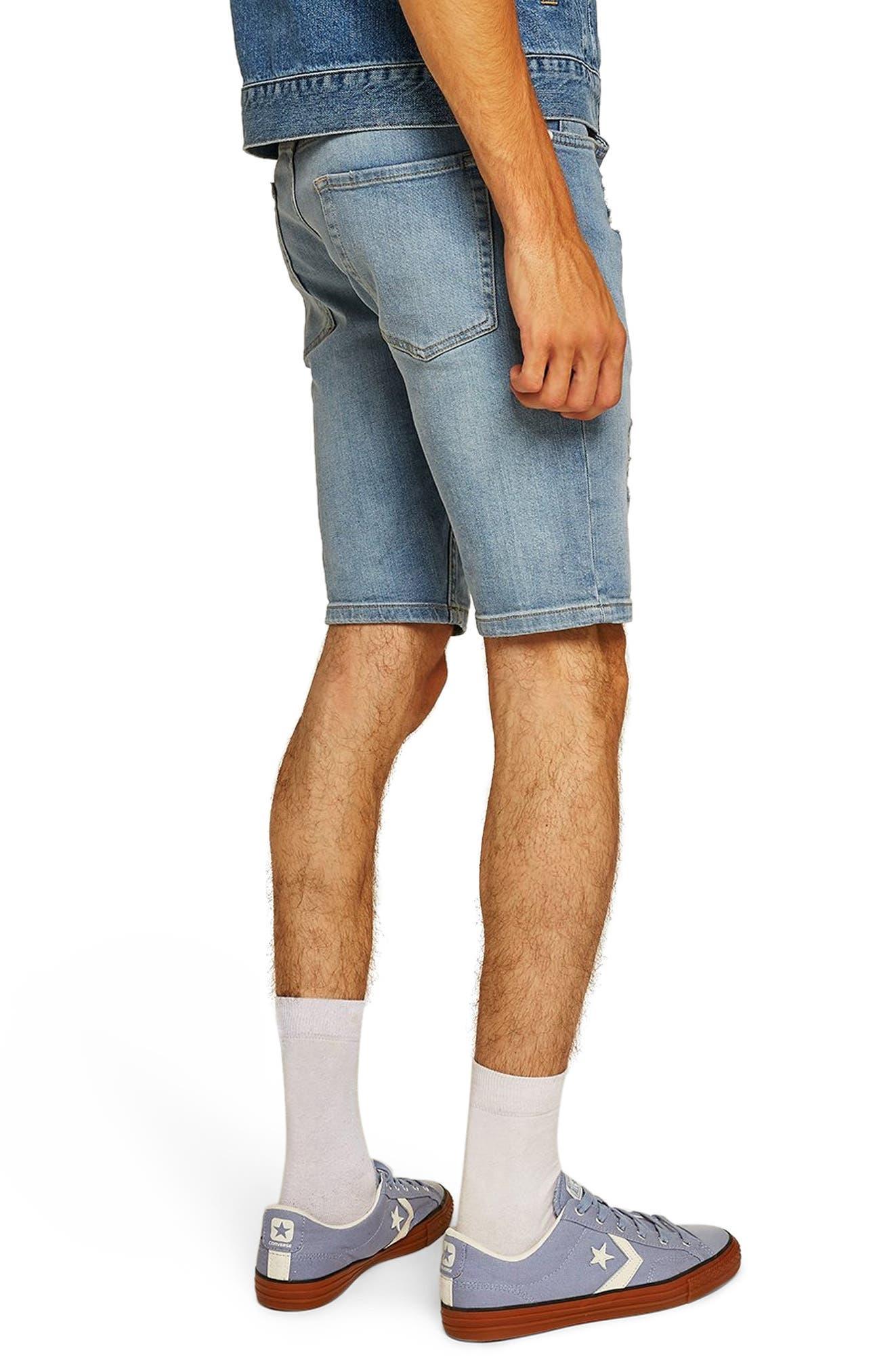 Bleach Ripped Skinny Denim Shorts,                             Alternate thumbnail 2, color,                             400