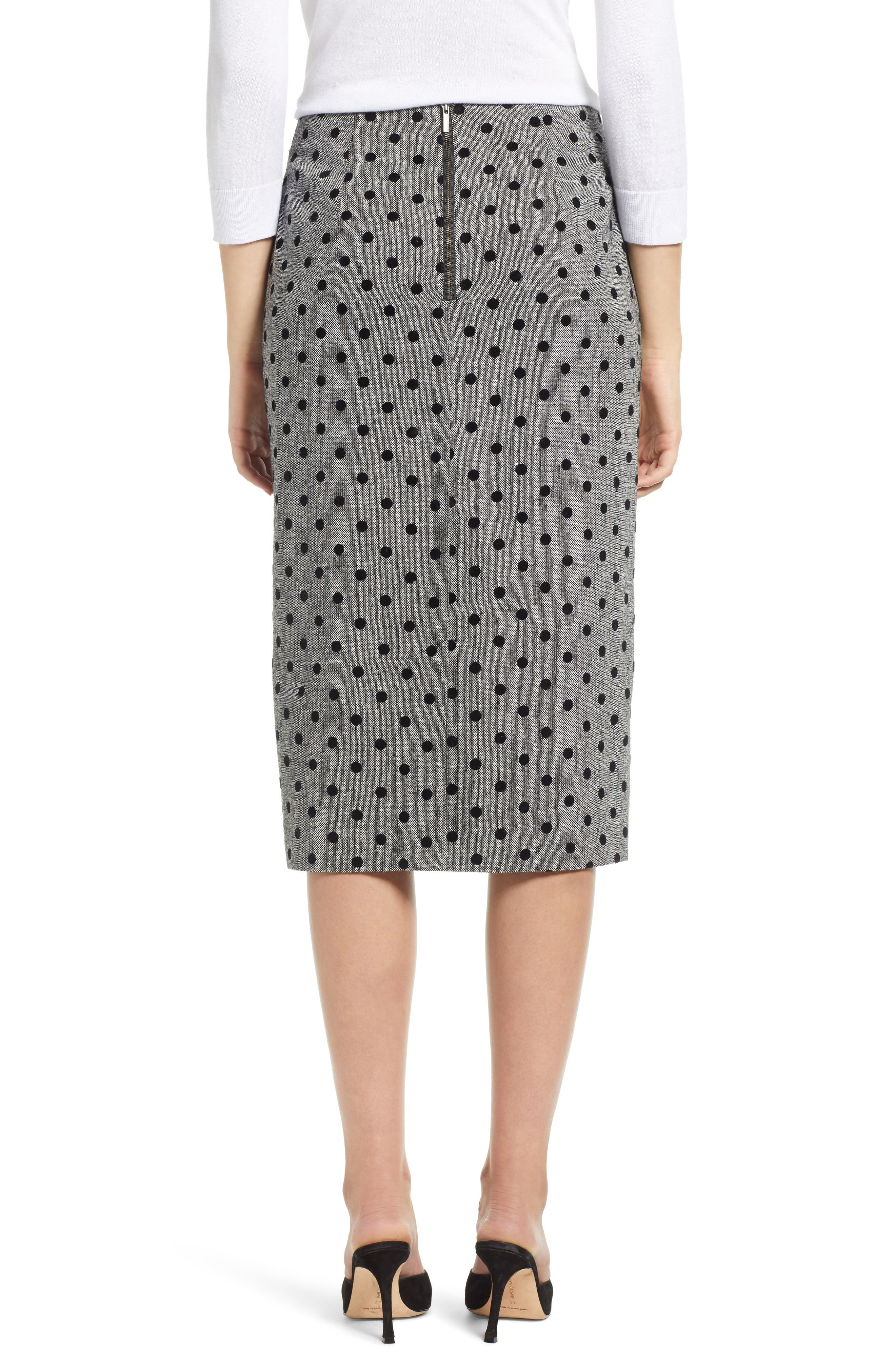 Dot Pencil Skirt,                             Alternate thumbnail 2, color,                             GREY- BLACK DOT