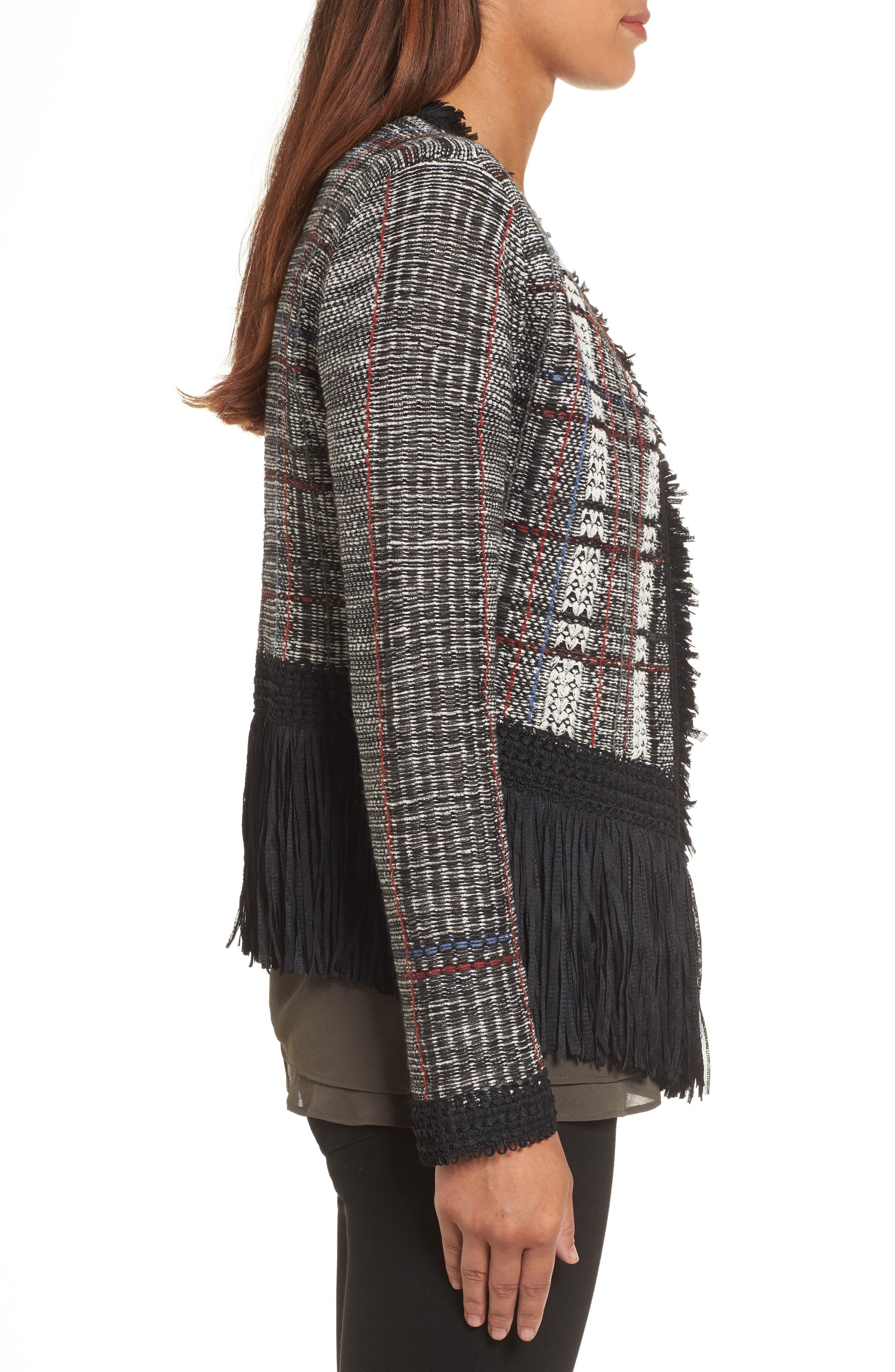 Plaid Tweed Fringe Jacket,                             Alternate thumbnail 3, color,                             090